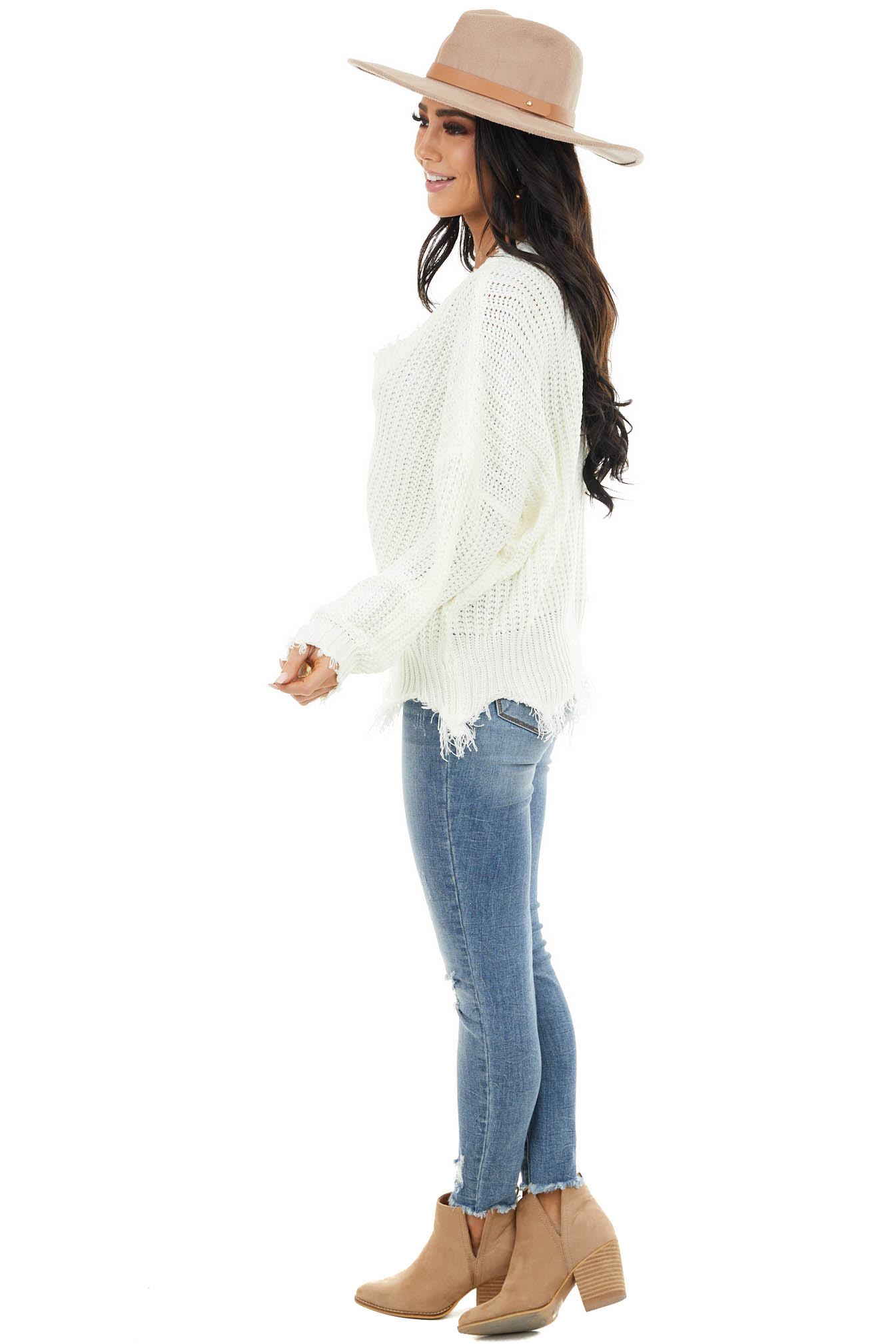 Ivory V Neck Sweater with Distressed Detail