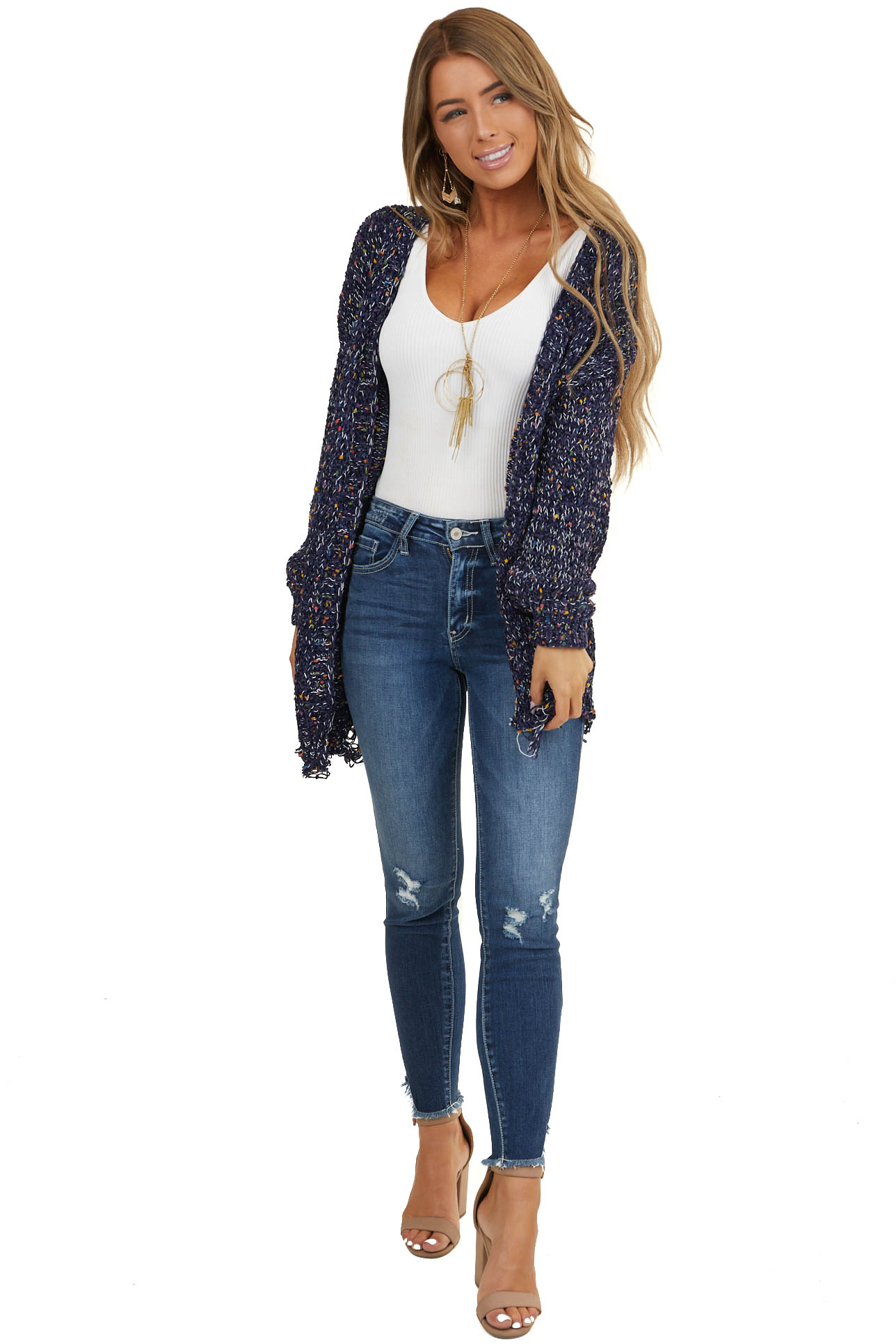 Navy Long Sleeve Cardigan with Multicolor Dot Details