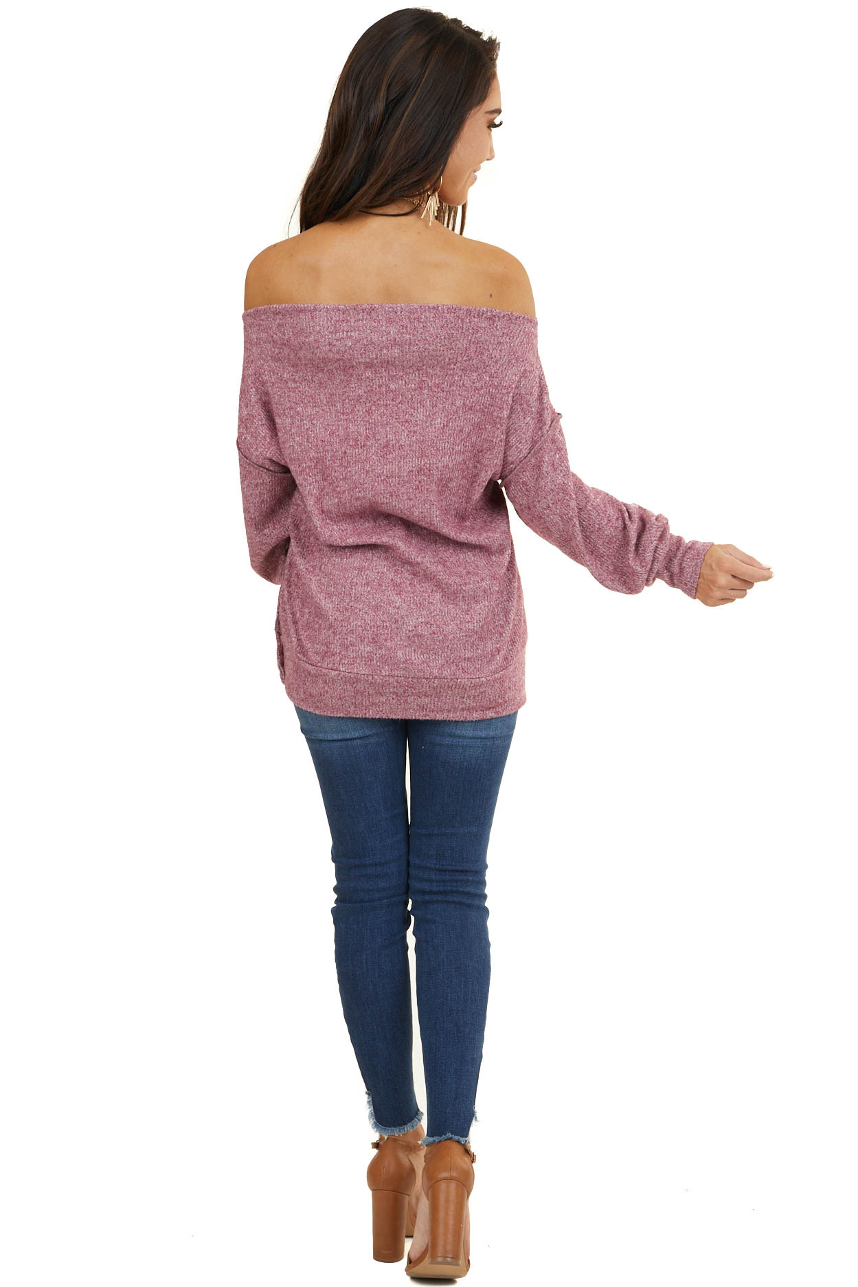 Heathered Mauve Off the Shoulder Ribbed Long Sleeve Sweater