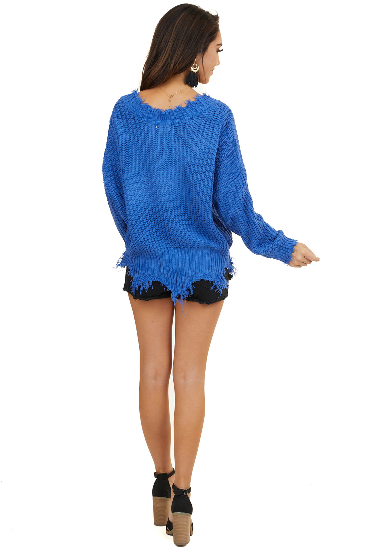 Royal Blue V Neck Sweater with Distressed Detail