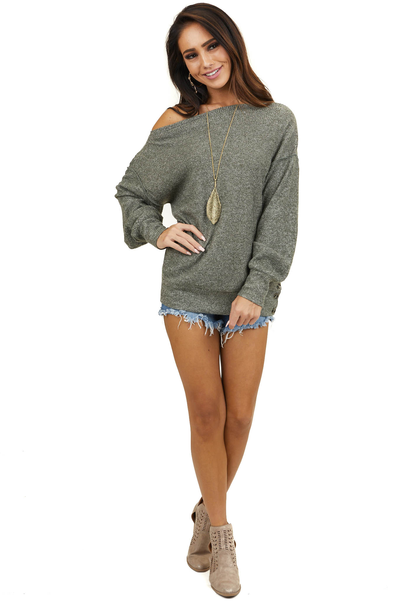 Heathered Green Off the Shoulder Ribbed Long Sleeve Sweater