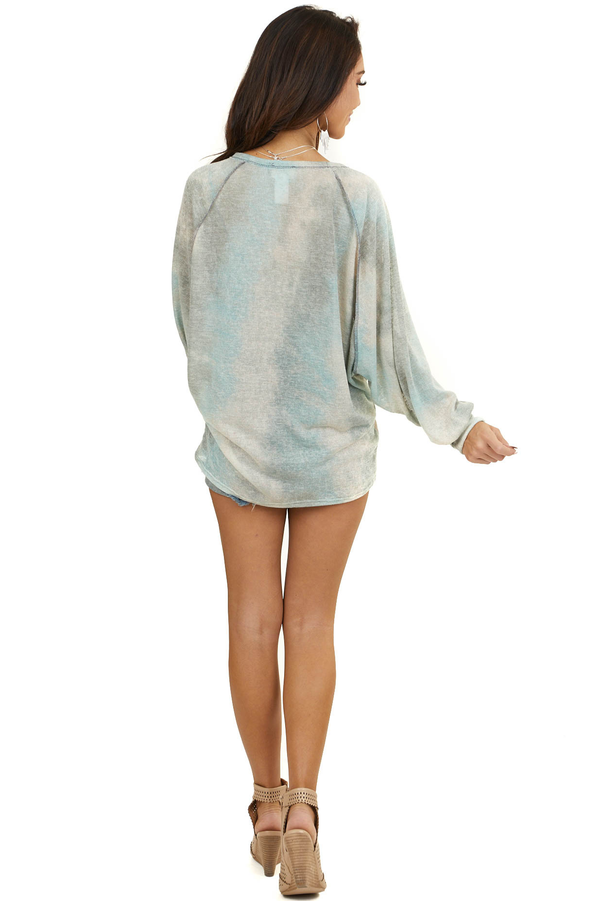 Sage and Beige Tie Dye Loose Knit Top with Long Sleeves
