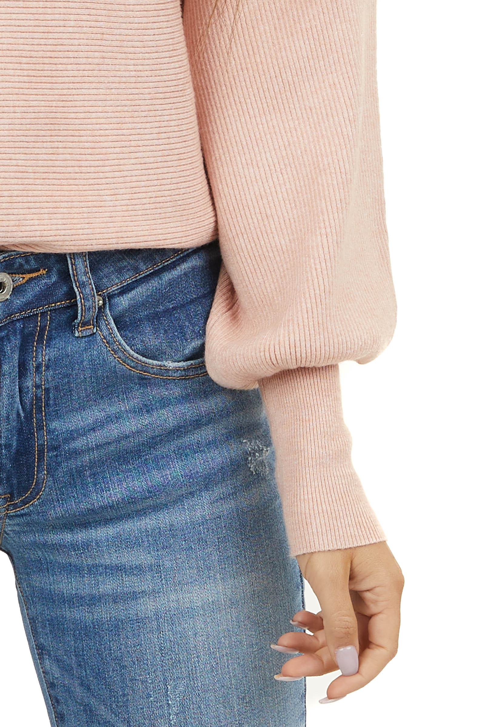 Blush Ribbed Knit Sweater with Long Bell Sleeves