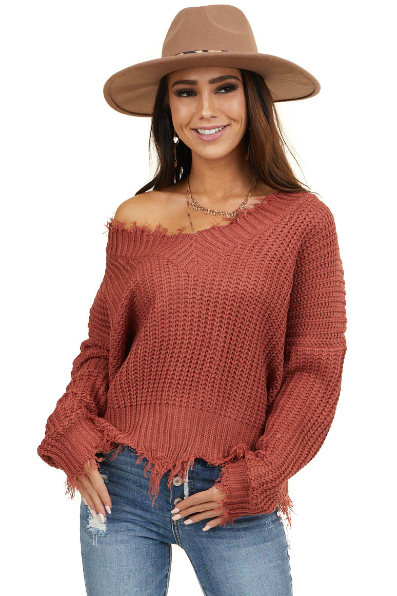 Marsala V Neck Sweater with Distressed Detail