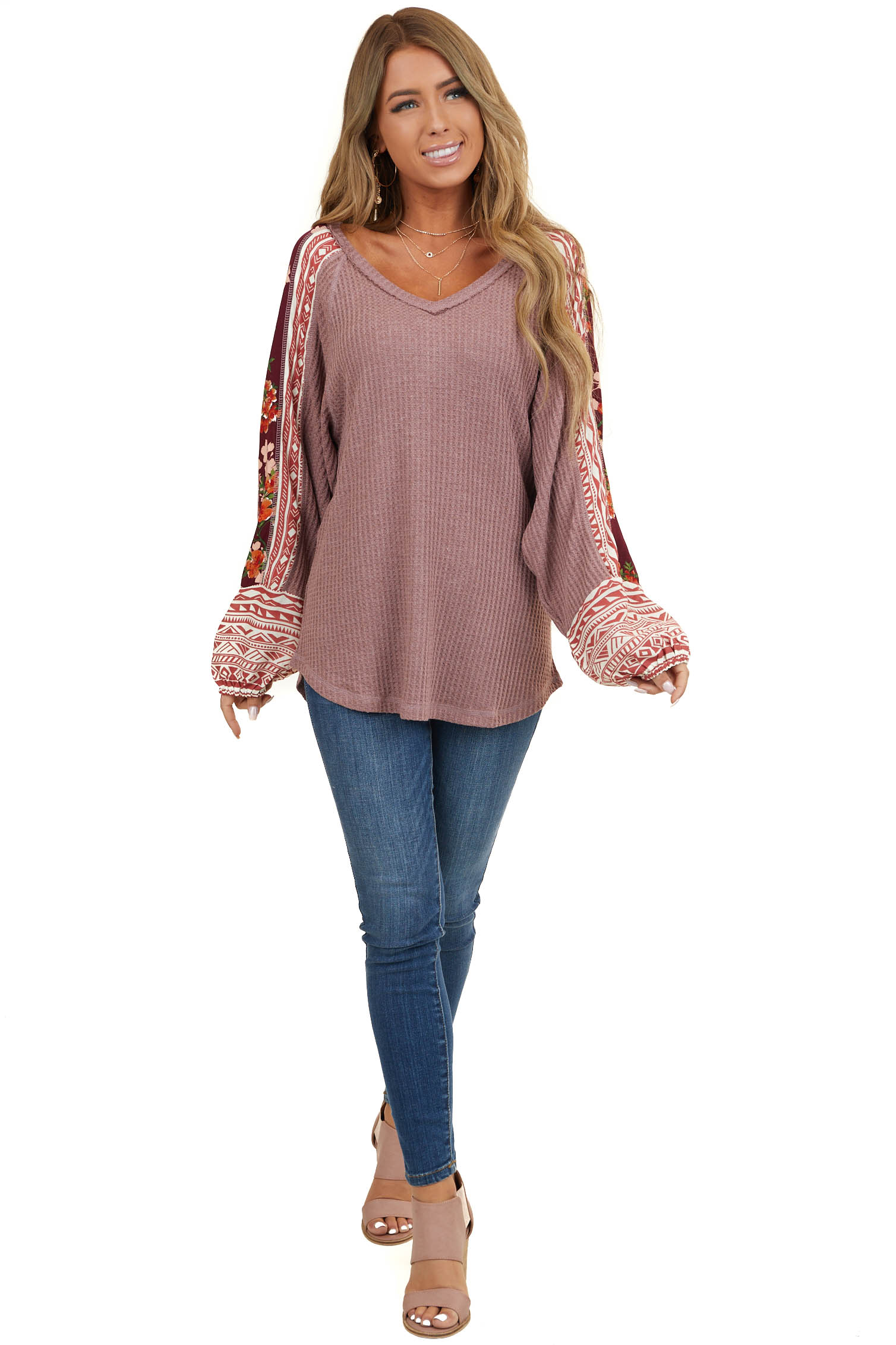 Dusty Rose Waffle Knit Top with Contrasting Long Sleeves