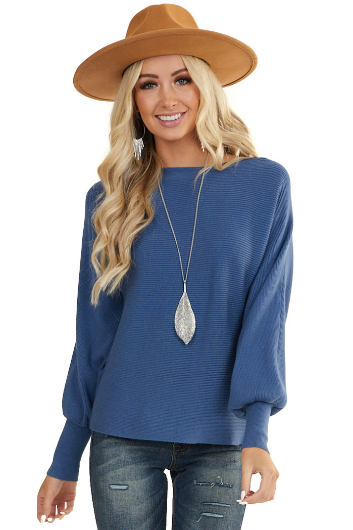 Dusty Blue Ribbed Knit Sweater with Long Bishop Sleeves
