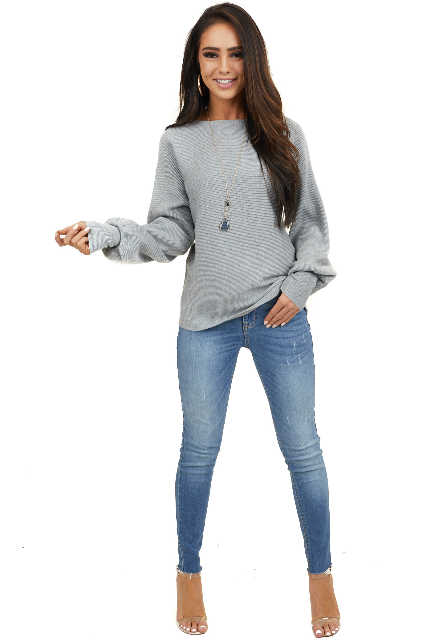 Heather Grey Ribbed Knit Sweater with Long Bell Sleeves