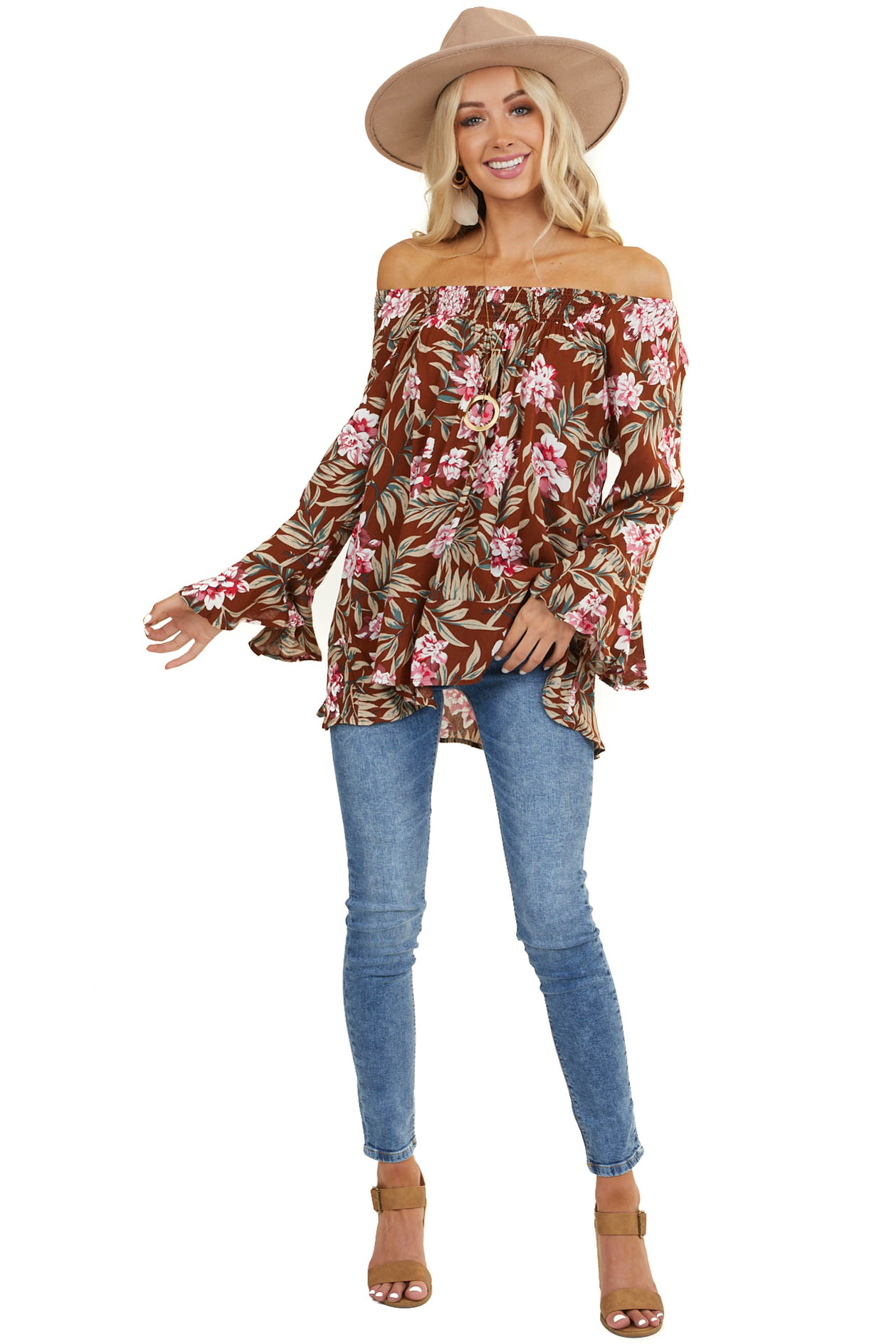 Brown Floral Long Sleeve Off Shoulder Top with Ruffle Detail
