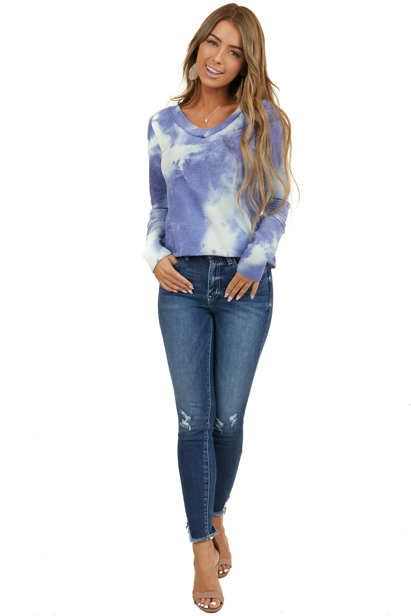 Periwinkle Tie Dye Ribbed Top with Long Fitted Sleeves