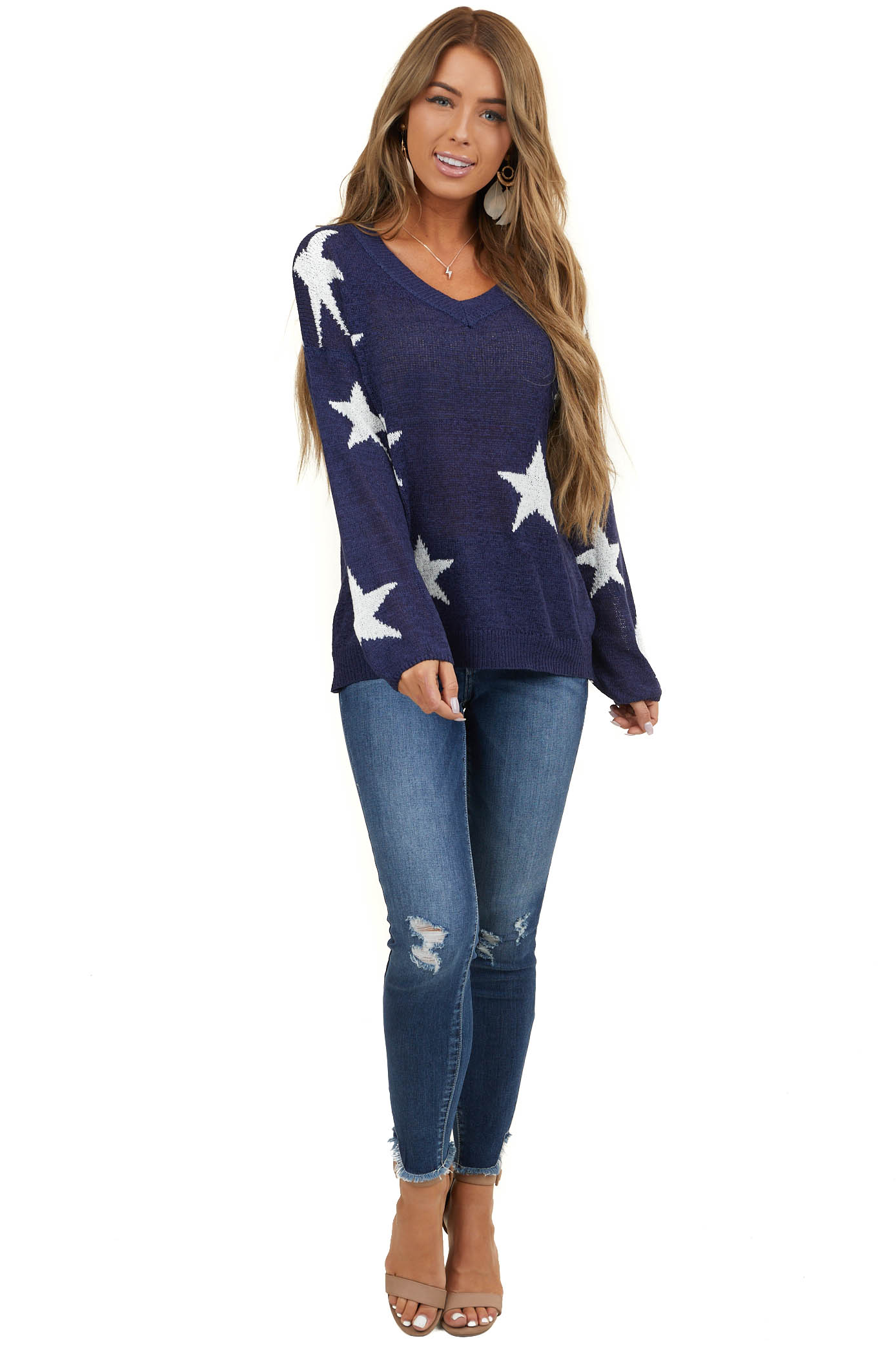 Navy V Neck Long Sleeve Loose Knit Sweater with Star Detail