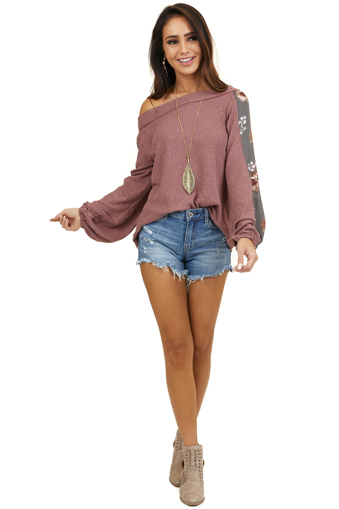 Mauve Off Shoulder Waffle Knit Top with Long Bubble Sleeves