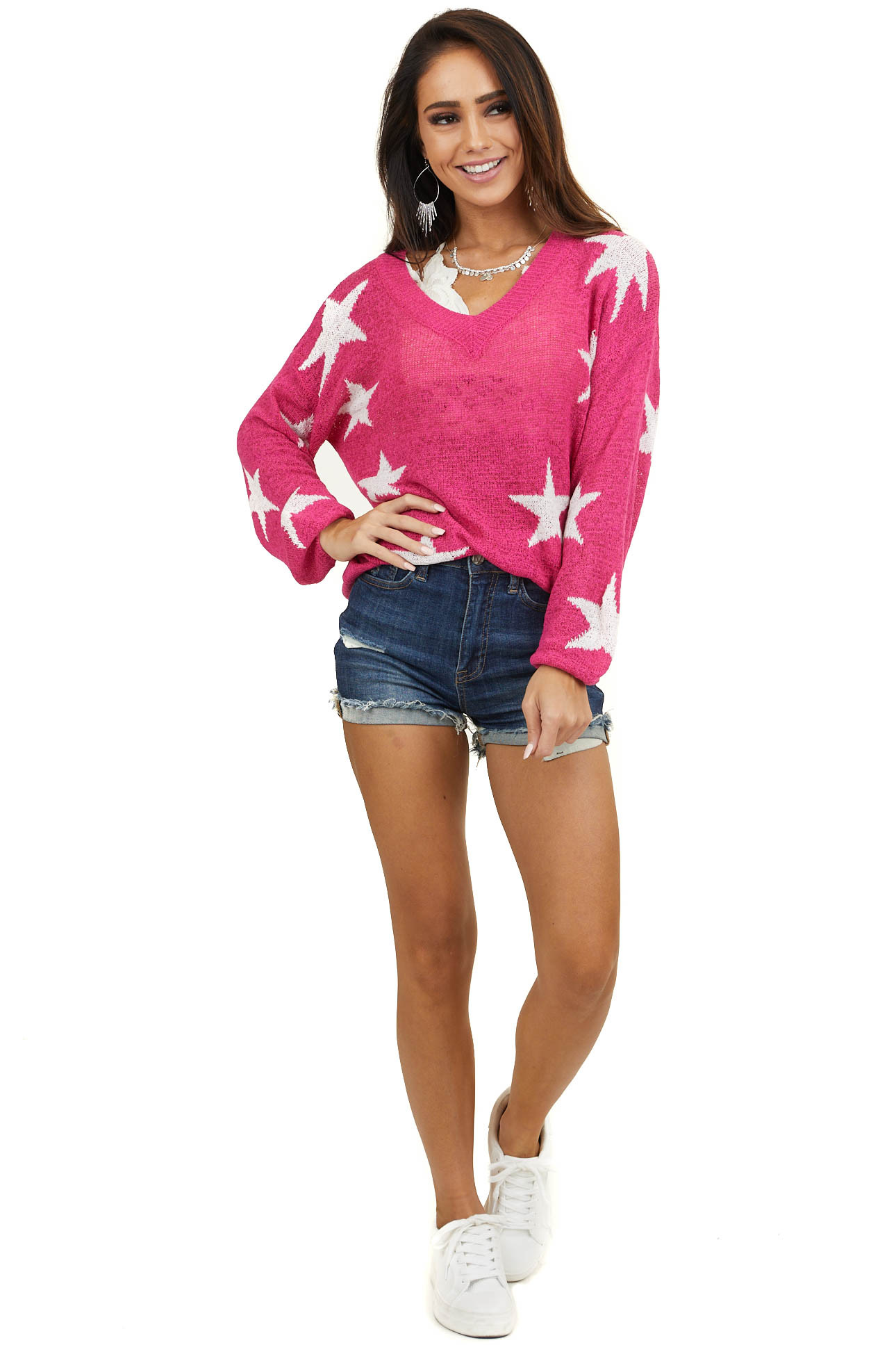 Fuchsia V Neck Long Sleeve Loose Knit Sweater with Stars