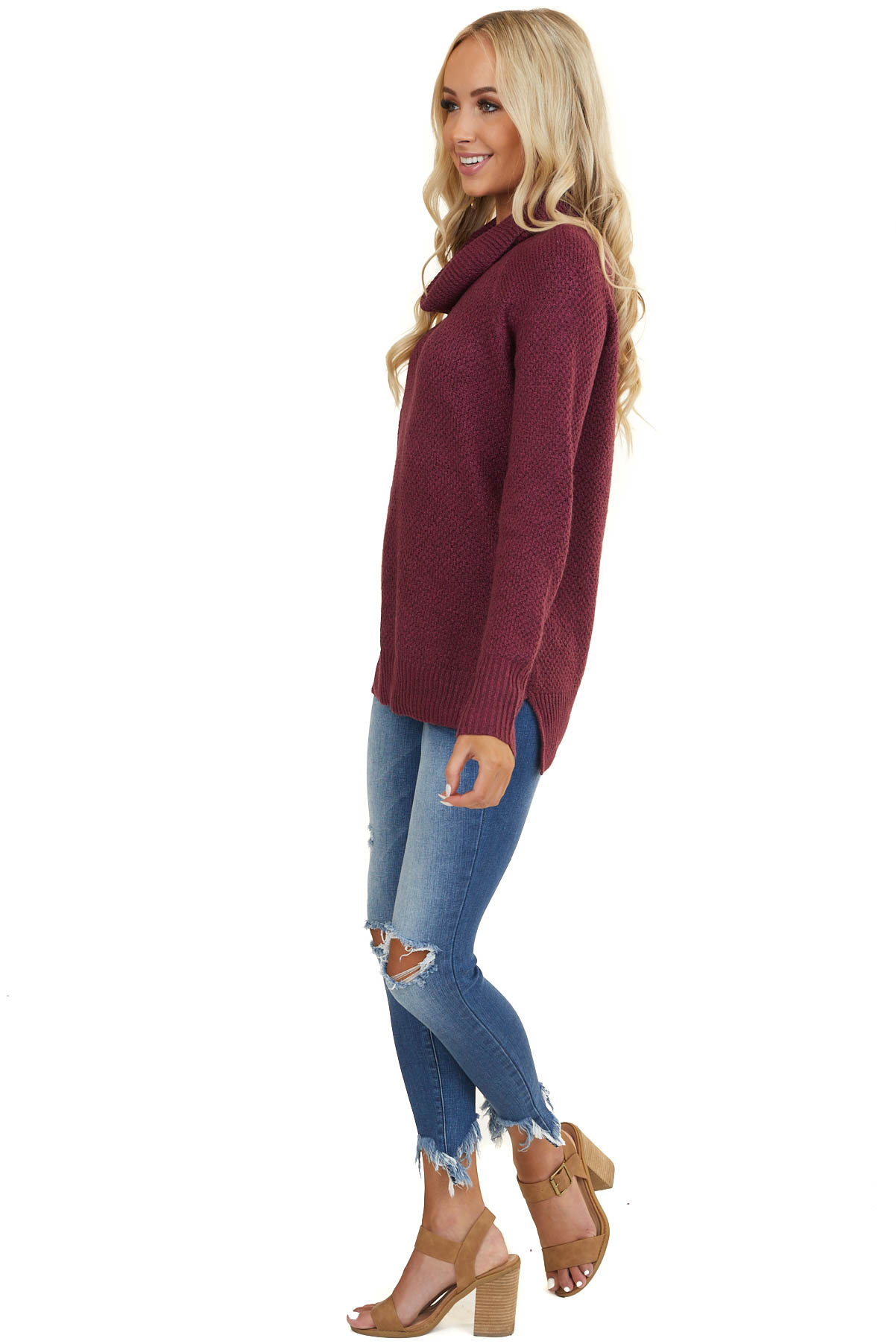 Plum Cowl Neck Knit Sweater with Long Sleeves