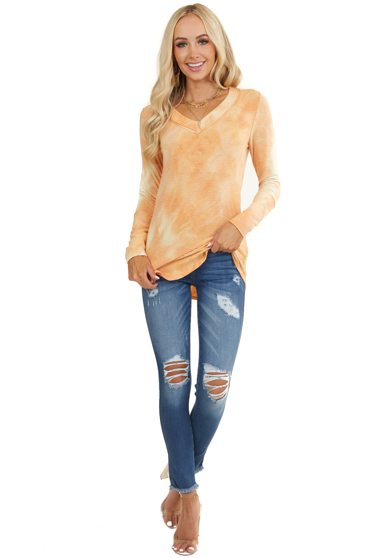 Cantaloupe Tie Dye Ribbed Top with Long Fitted Sleeves