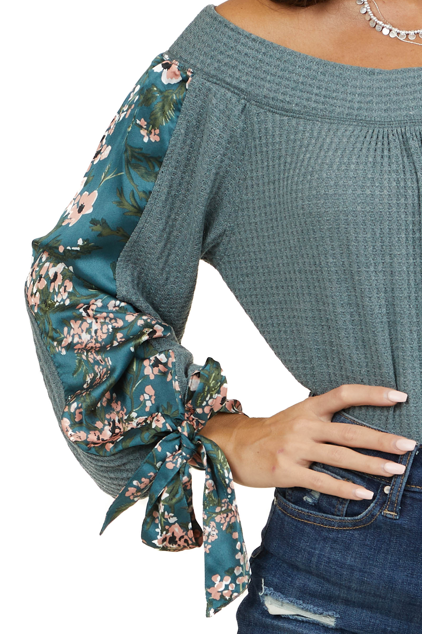 Dusty Teal Wide Neck Waffle Knit Top with Long Sleeves