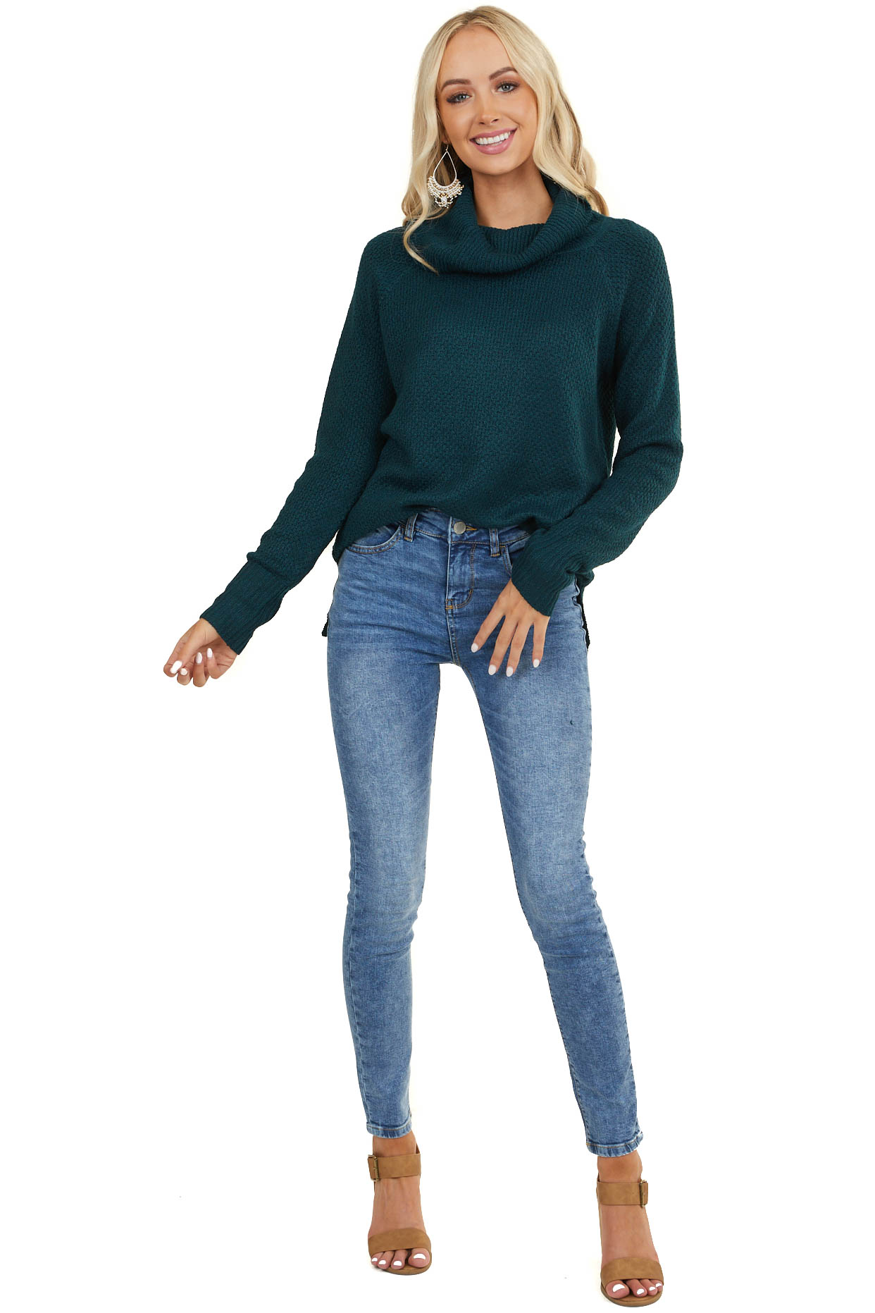 Dark Pine Cowl Neck Knit Sweater with Long Sleeves