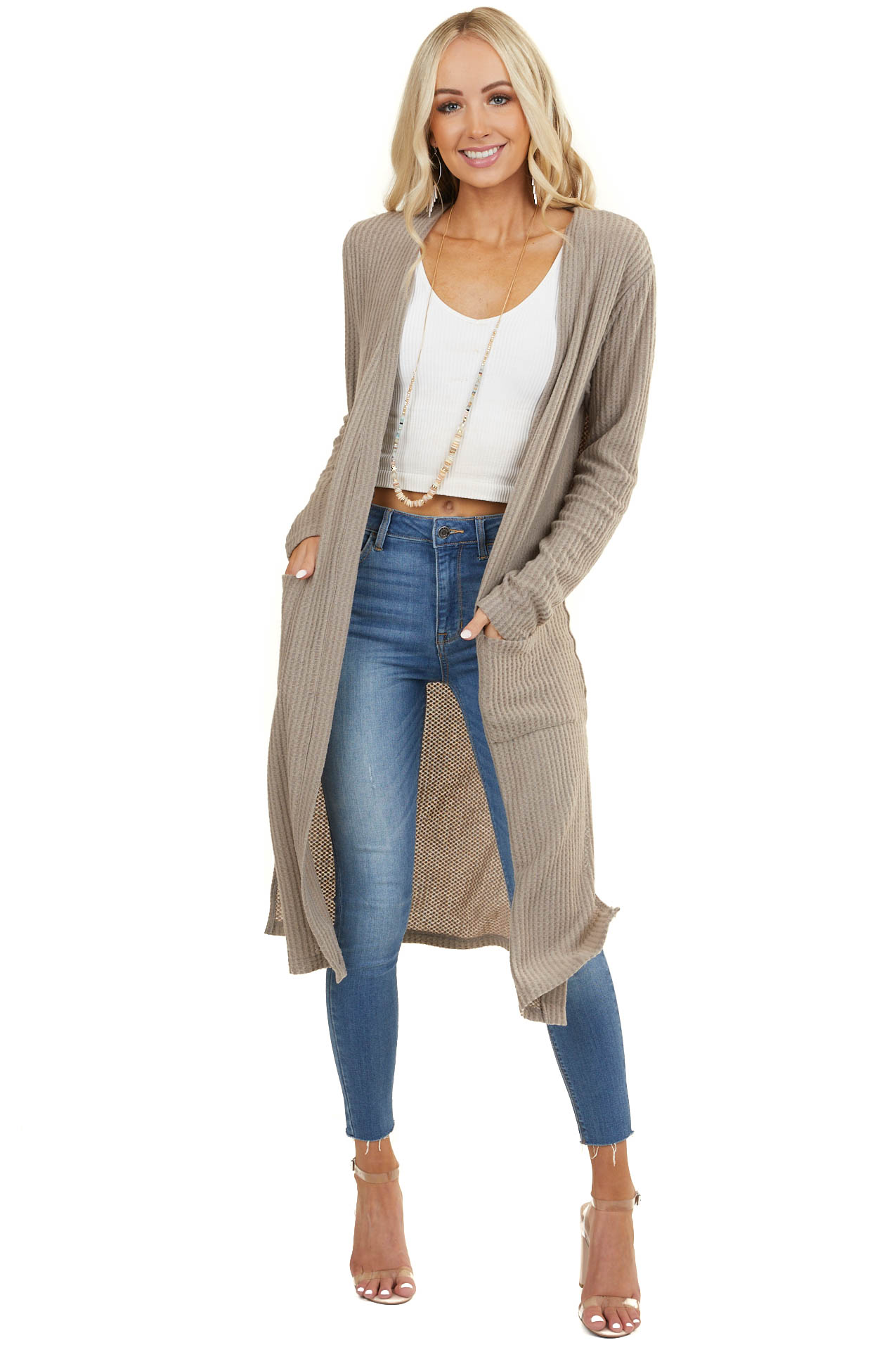 Taupe Waffle Knit Long Sleeve Duster Cardigan with Pockets