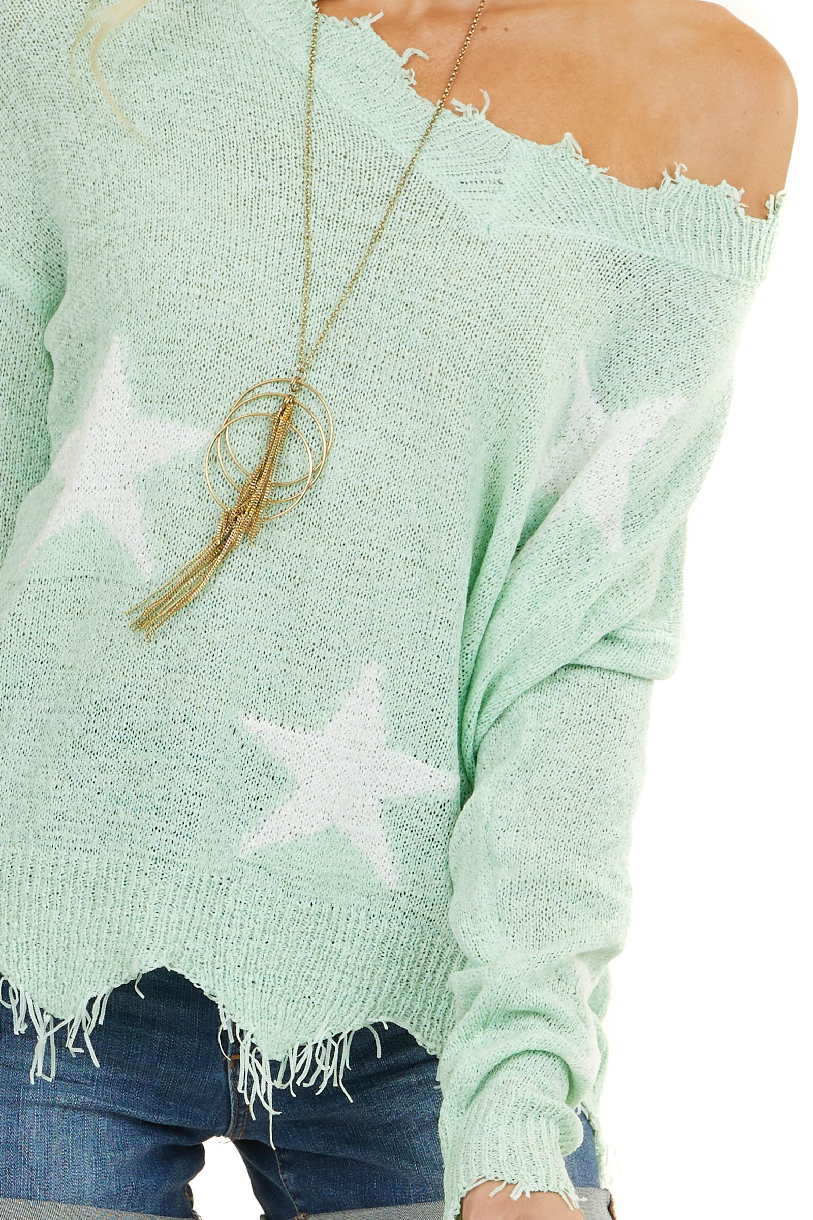 Mint V Neck Loose Knit Sweater with Frayed Edge and Stars