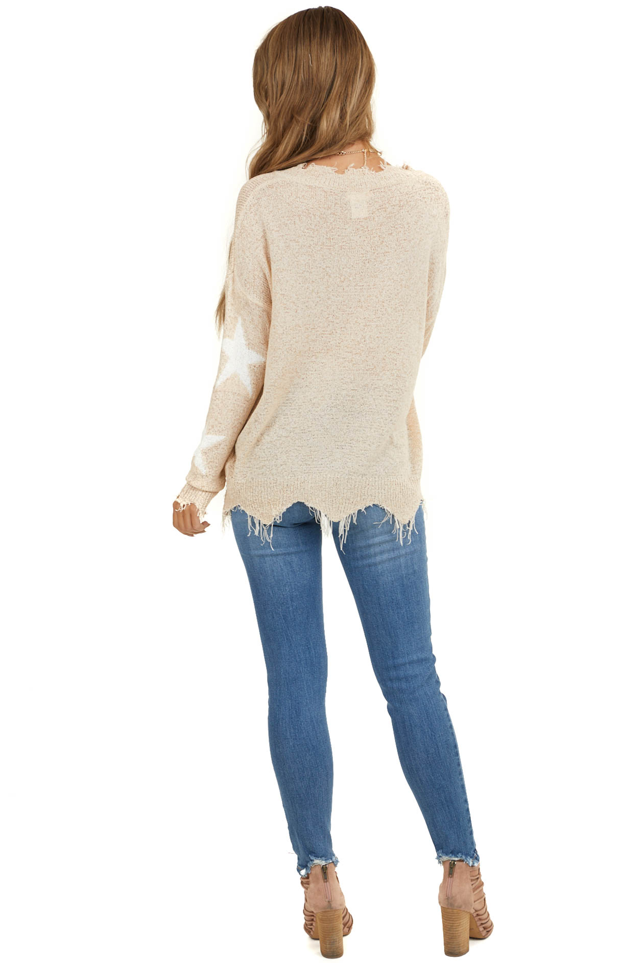 Peach V Neck Loose Knit Sweater with Frayed Edge and Stars