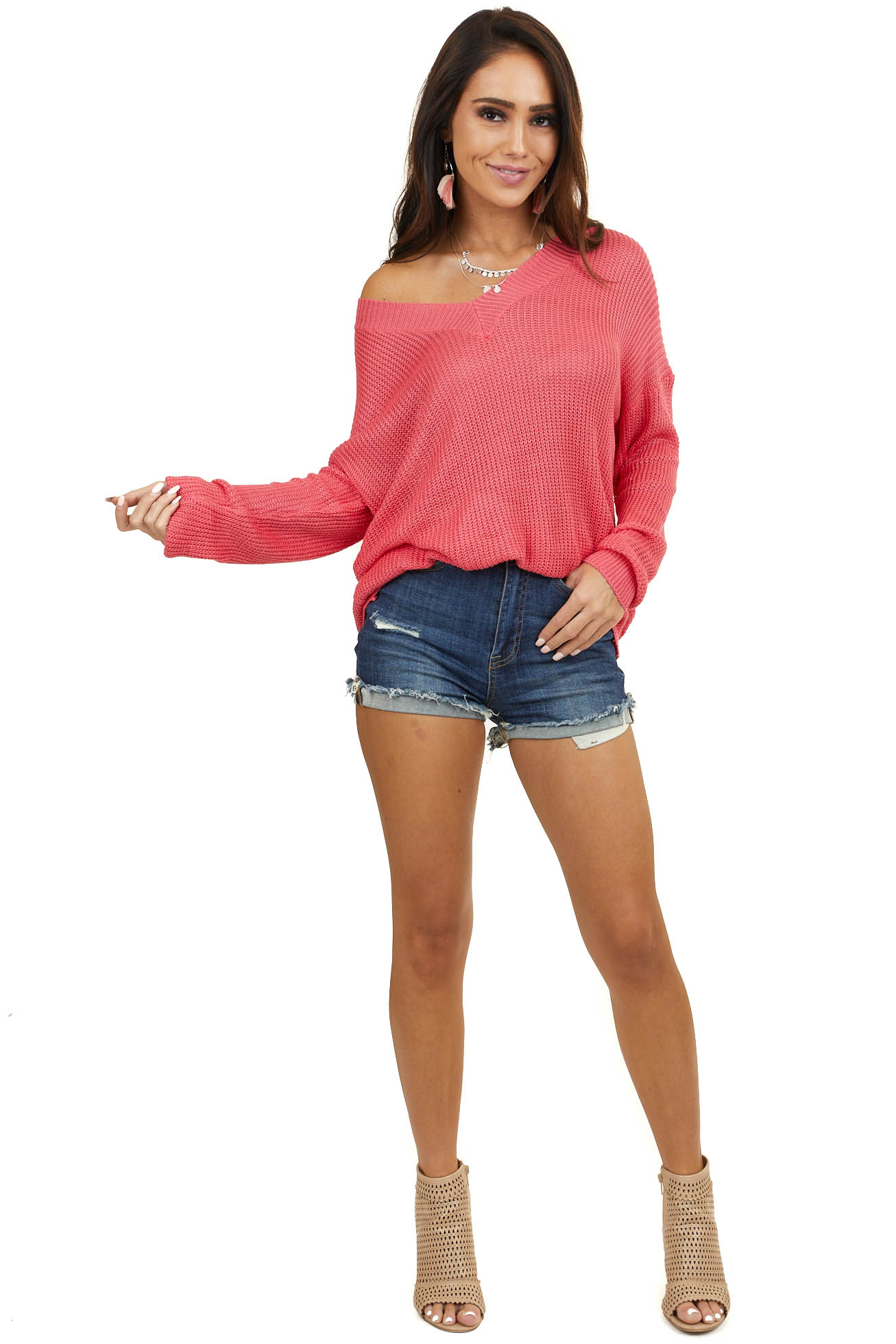 Hot Pink V Neck Loose Knit Long Sleeve Sweater