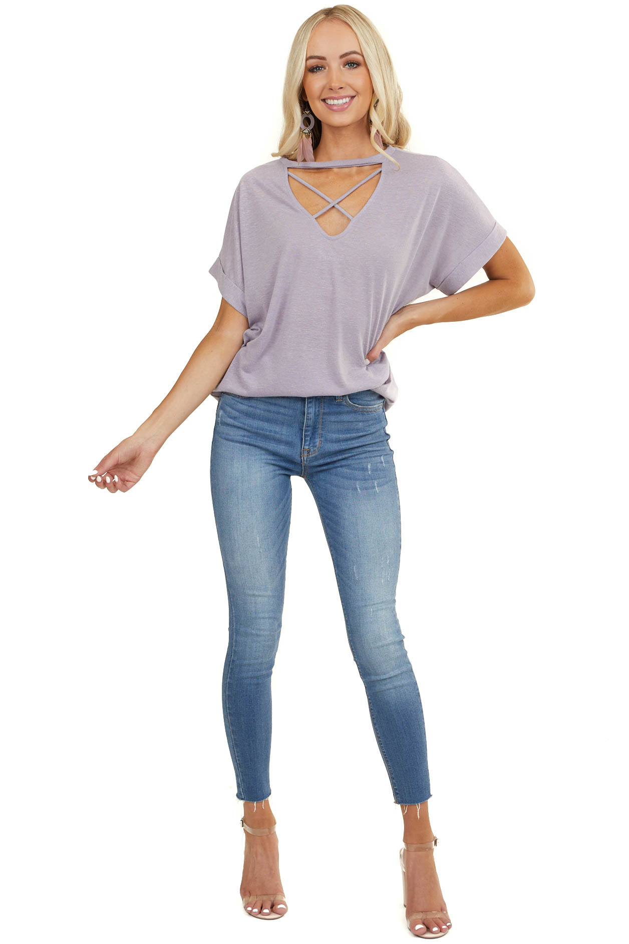 Heathered Lavender Short Sleeve Top with Criss Cross Detail