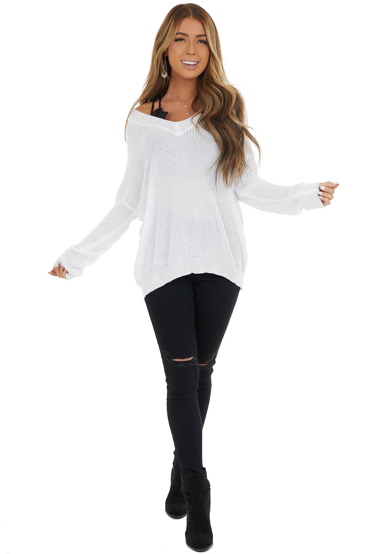 Pearl V Neck Loose Knit Long Sleeve Sweater