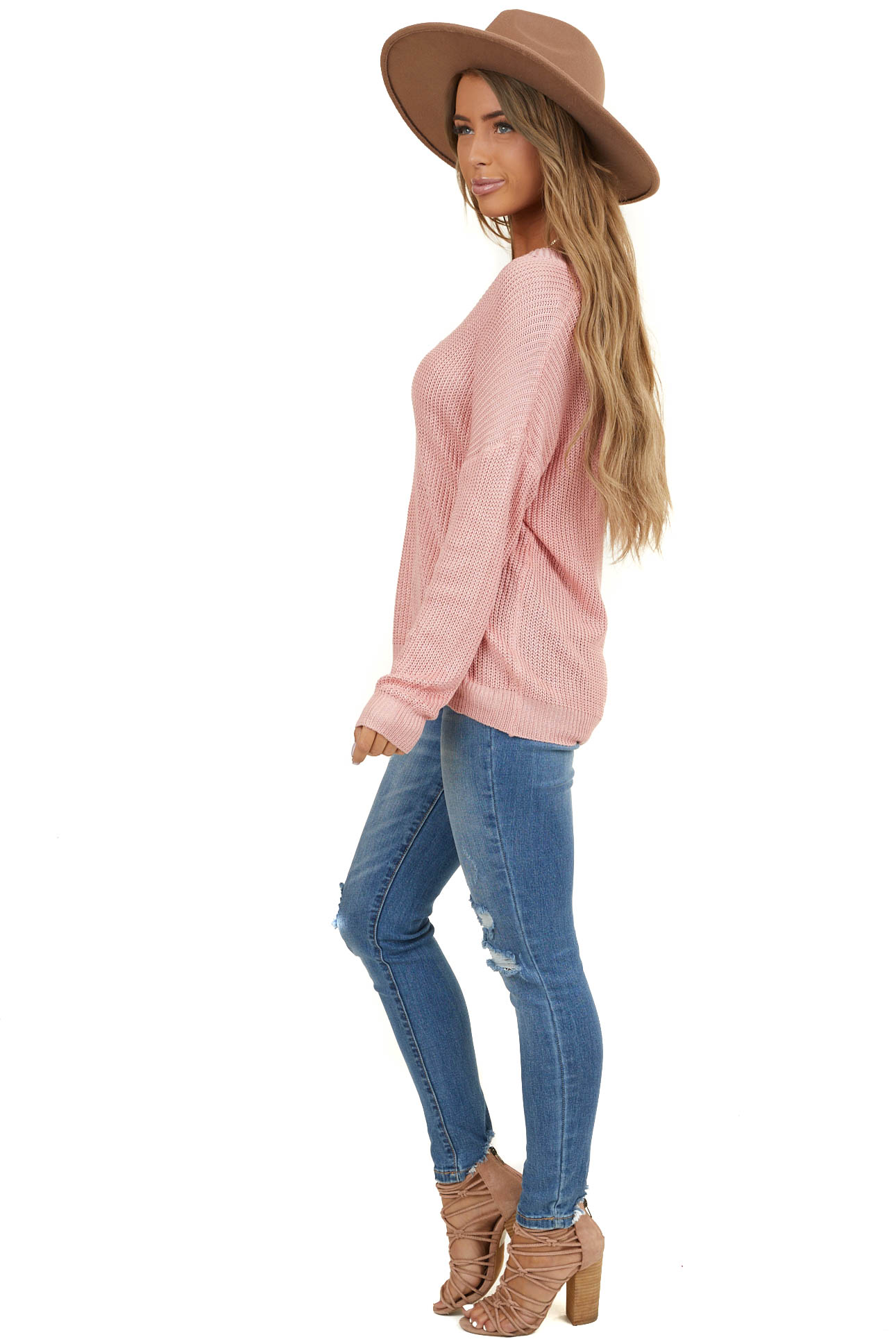 Dusky Pink V Neck Loose Knit Long Sleeve Sweater