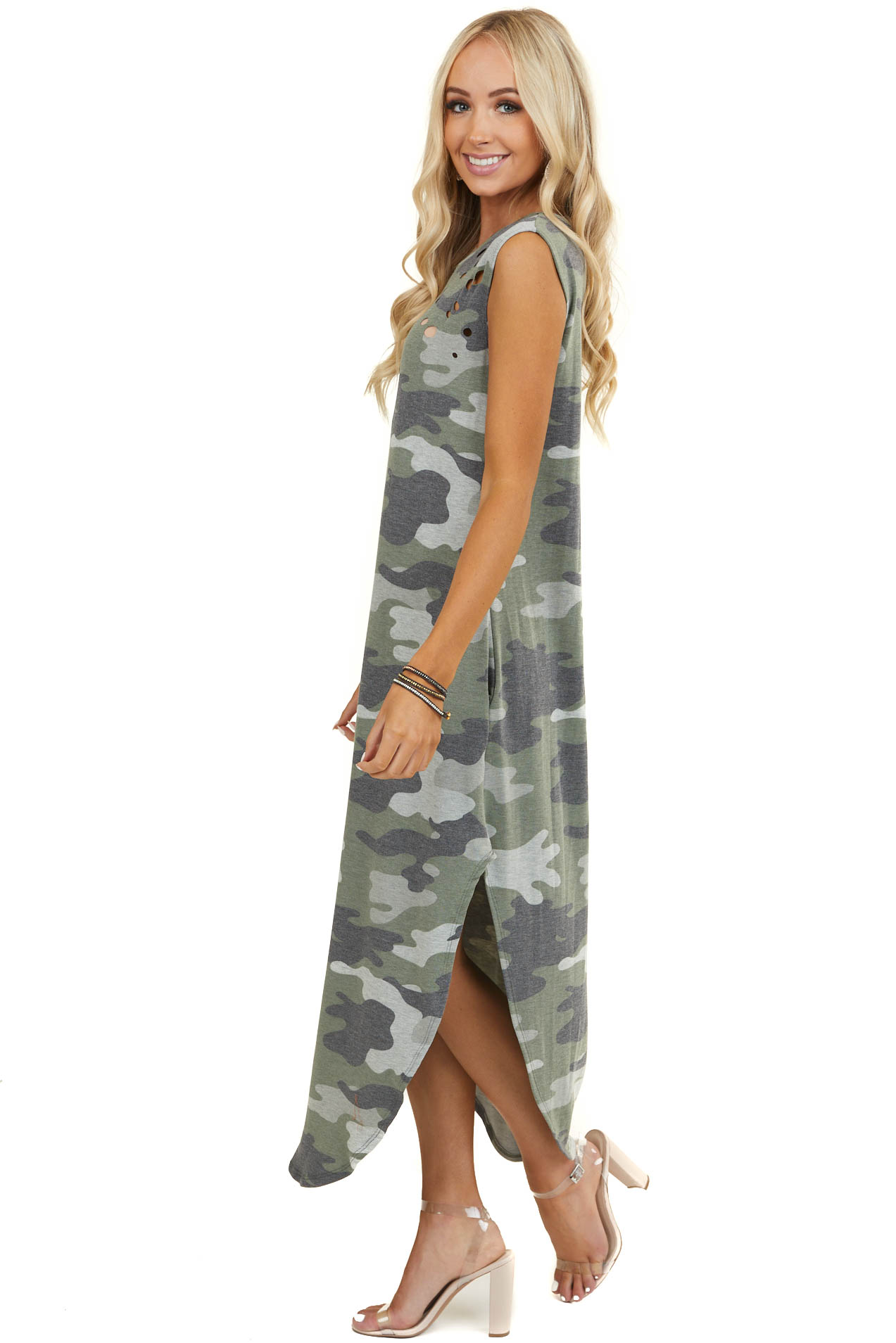 Olive Camo Print Maxi Sleeveless Dress with Laser Cut Details