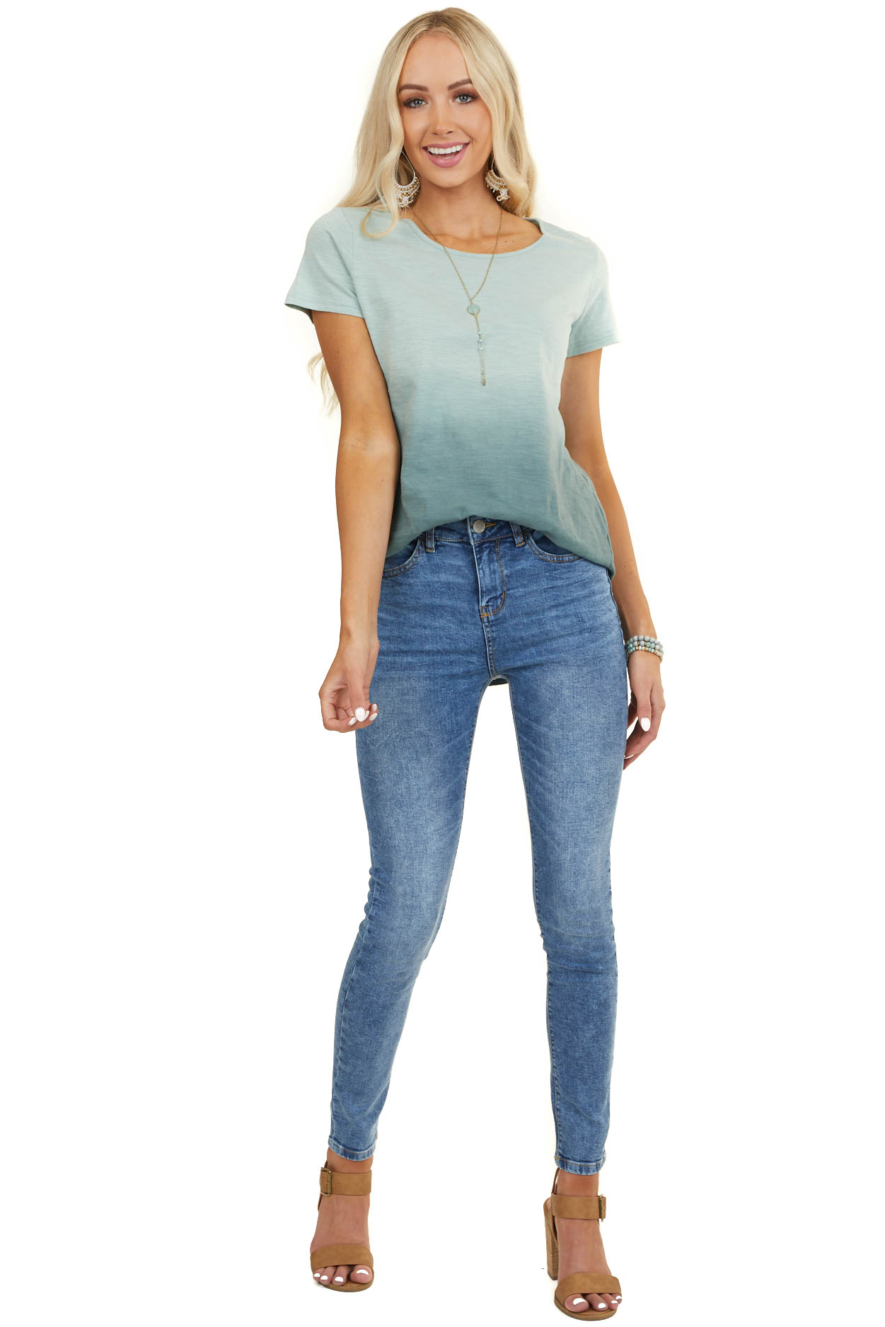 Sage and Pine Ombre Short Sleeve Top with High Low Hemline