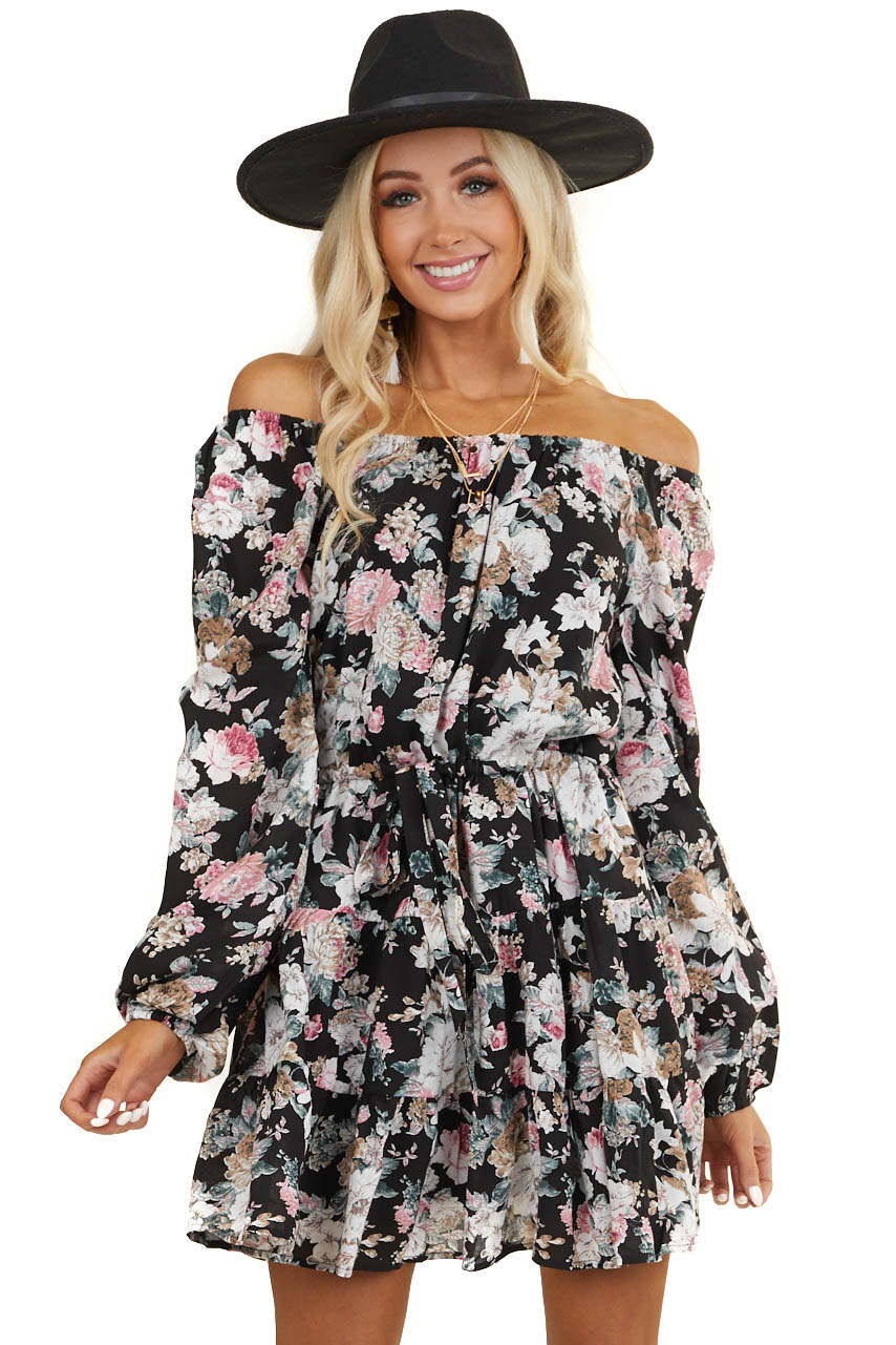 Black Floral Off Shoulder Short Dress with Waist Tie