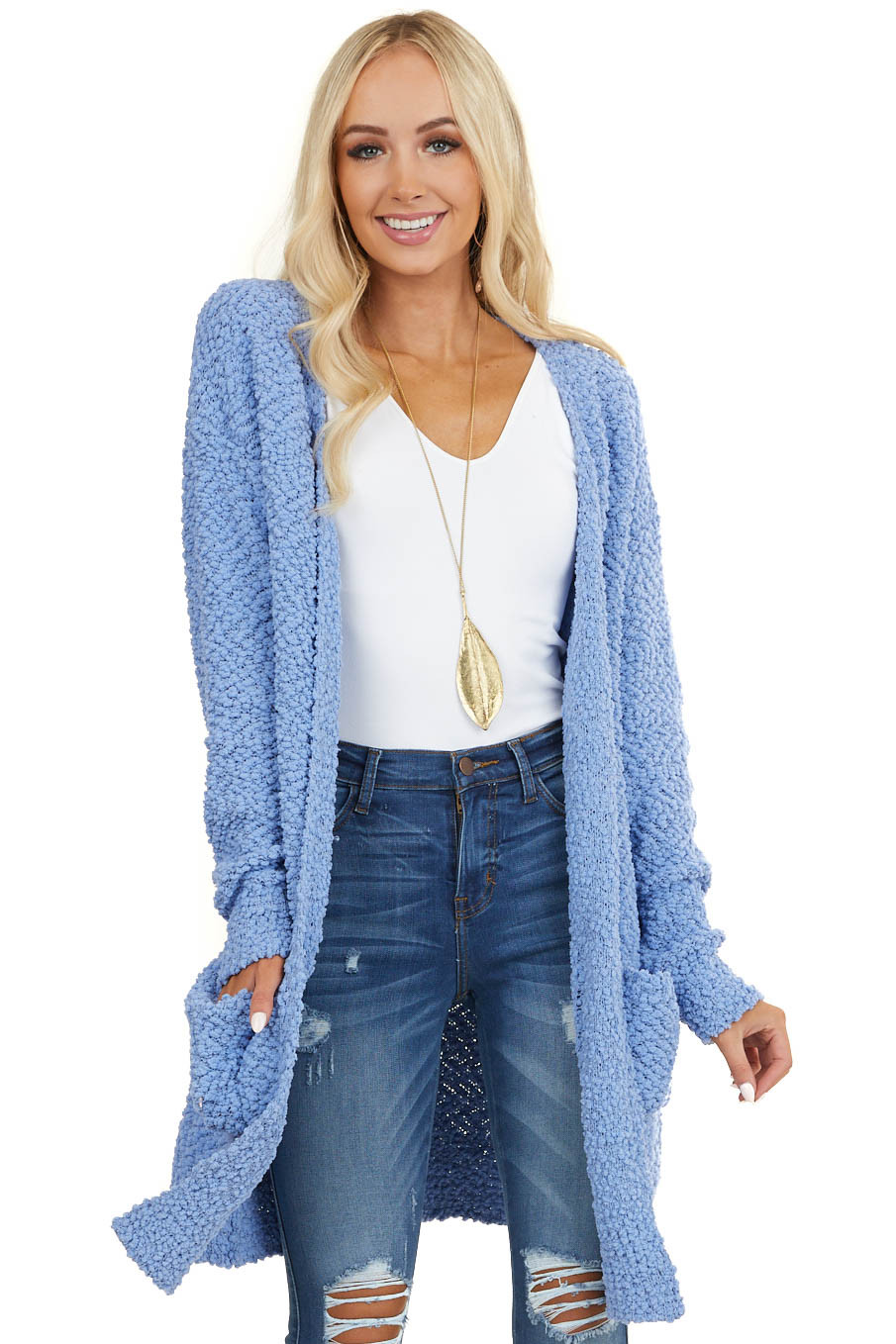Blue Popcorn Knit Long Sleeve Cardigan with Front Pockets