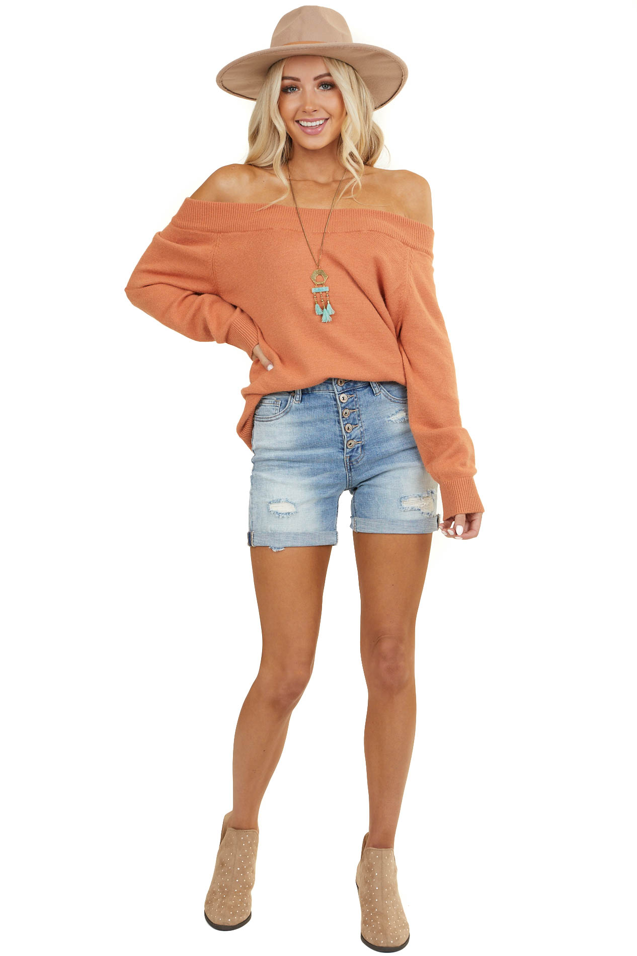 Dusty Orange Off the Shoulder Sweater with Ribbed Hemlines