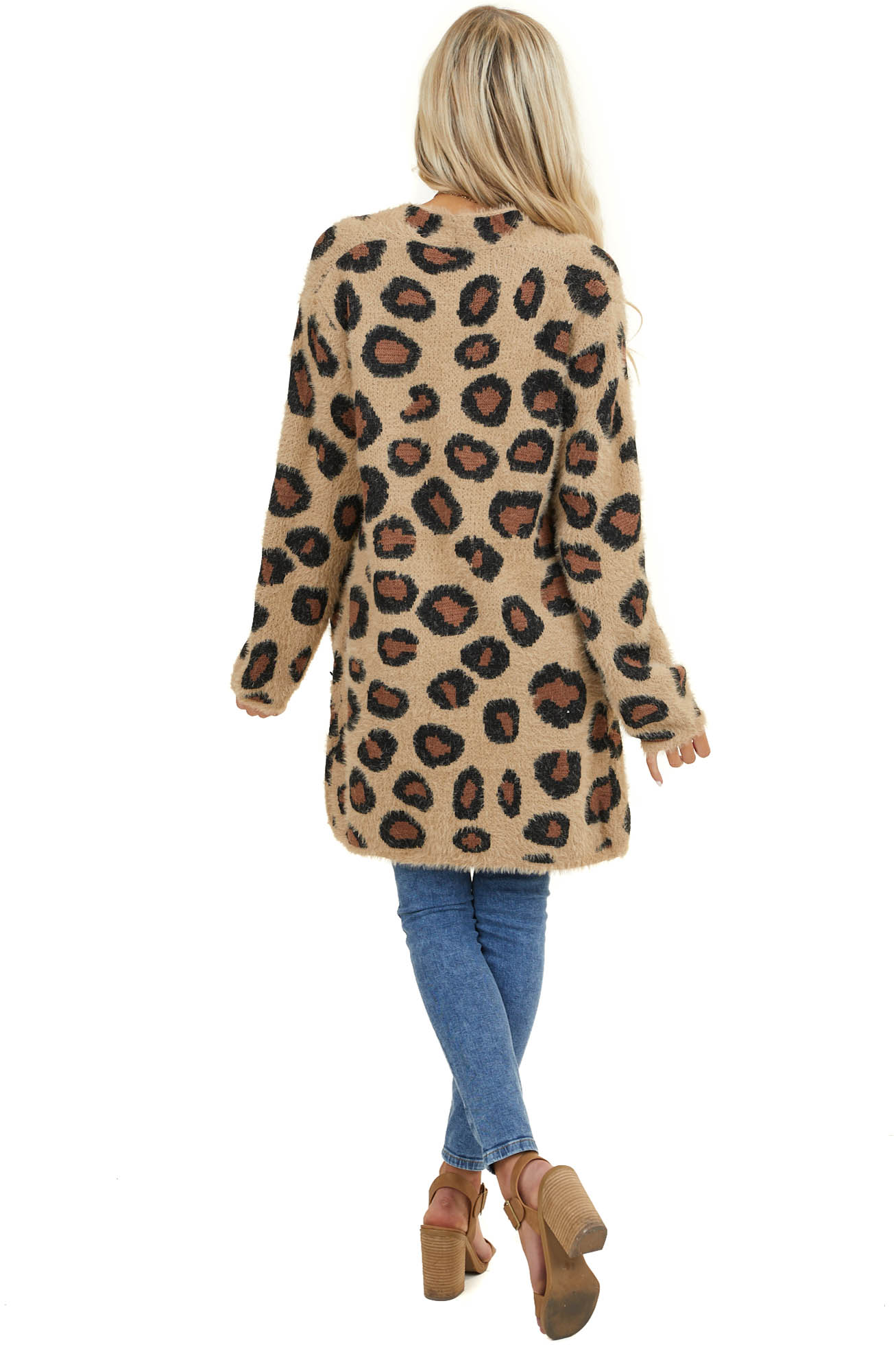 Tan Super Soft Fuzzy Leopard Print Open Front Cardigan