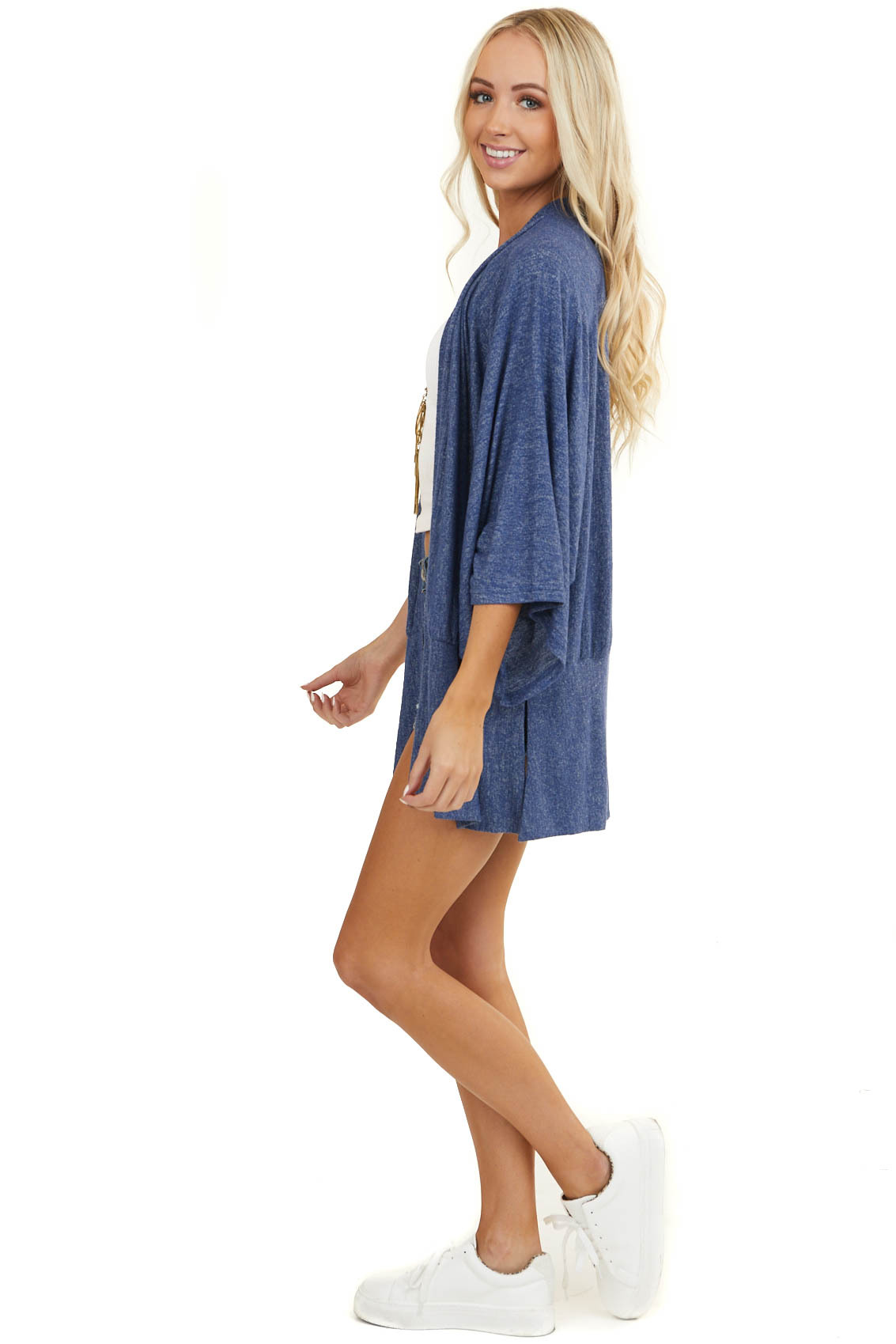 Heathered Dark Blue Open Cardigan with 3/4 Dolman Sleeves