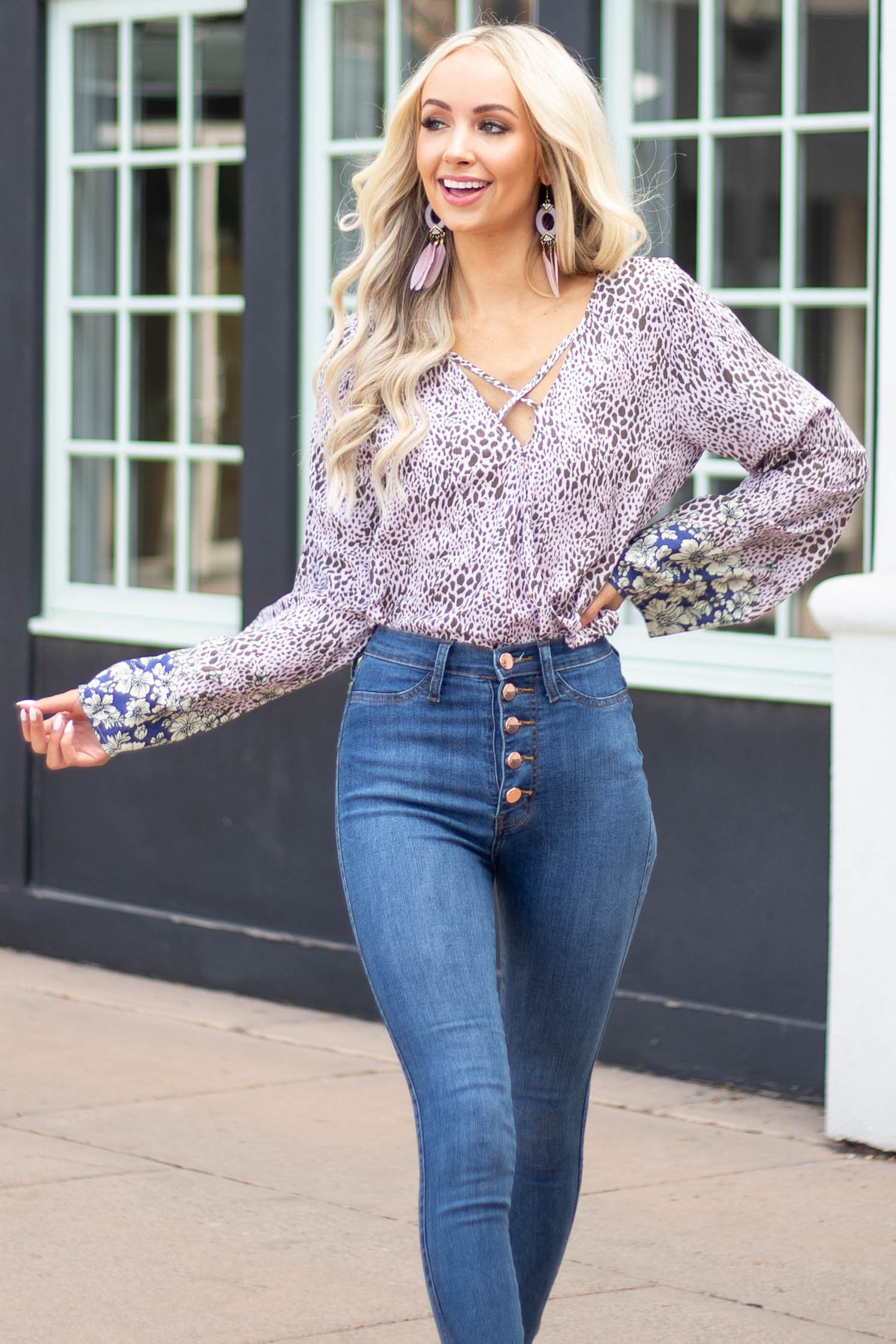 Light Lavender Abstract Print Surplice Top with Long Sleeves