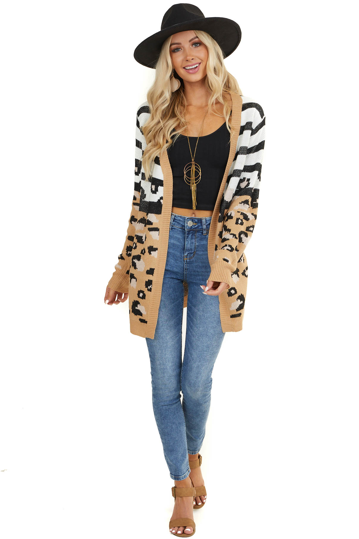 Dark Tan Leopard and Striped Print Open Front Knit Cardigan