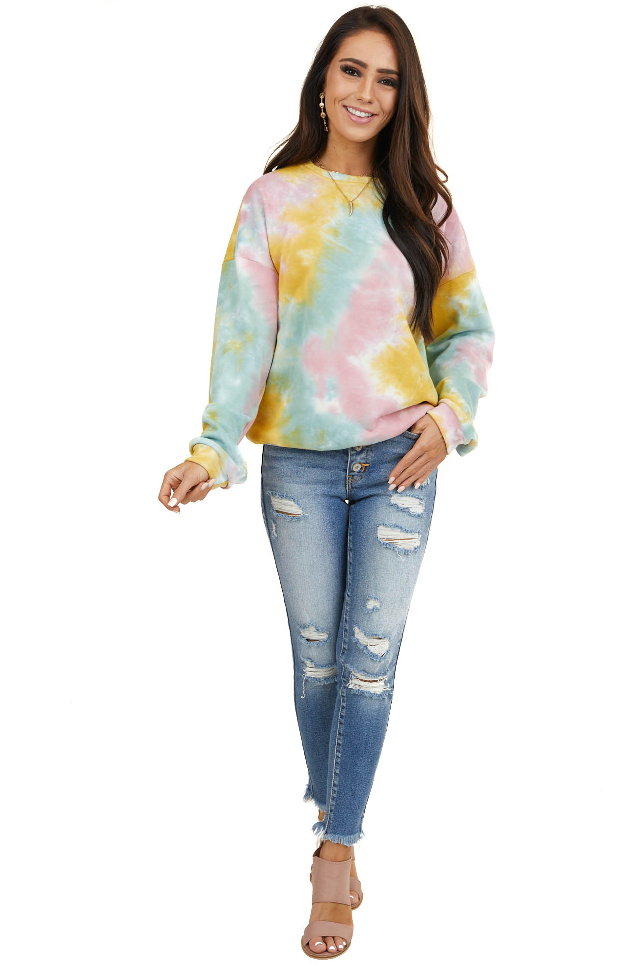 Pastel Tie Dye Pullover Heavy Knit Top with Long Sleeves