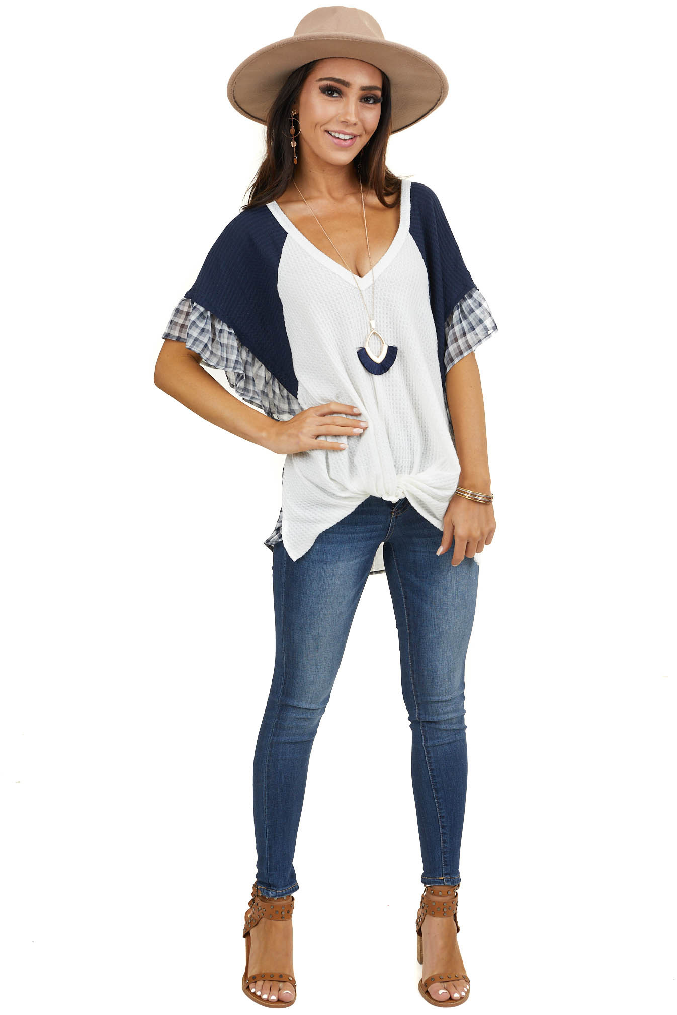 Navy and Ivory Knit Top with Plaid Print and Twist Detail