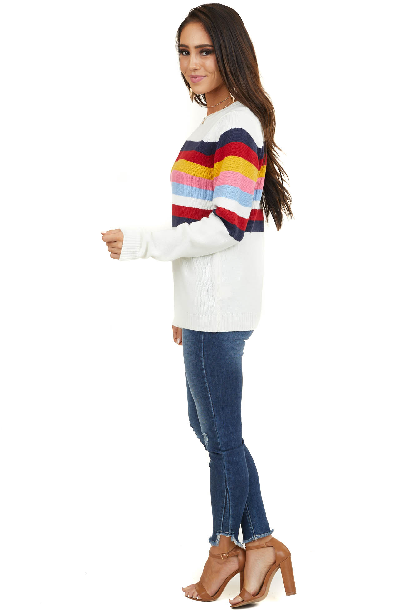 Off White Multicolor Striped Knit Sweater with Long Sleeves