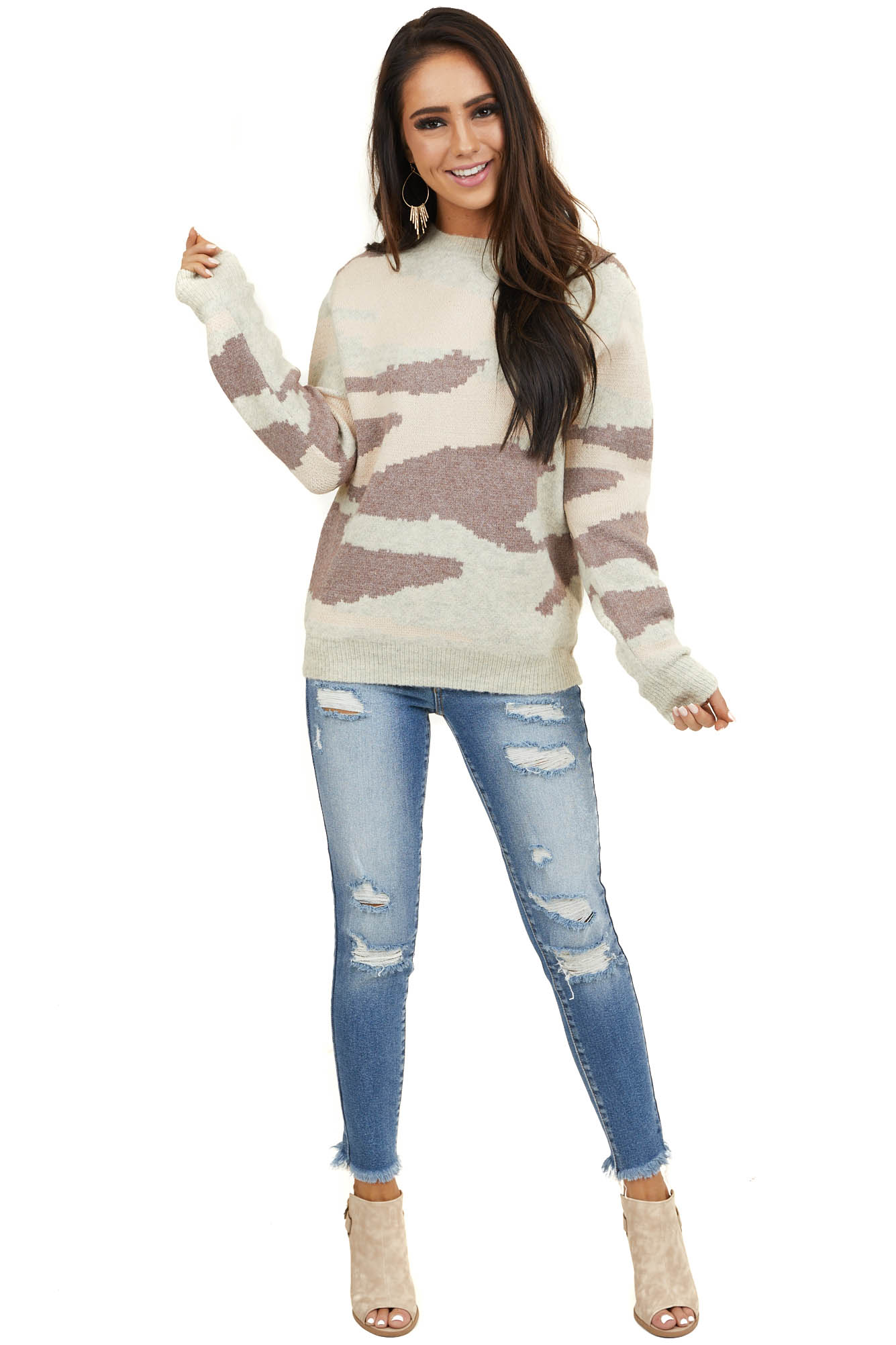 Oatmeal Camo Print Knit Sweater Top with Long Sleeves