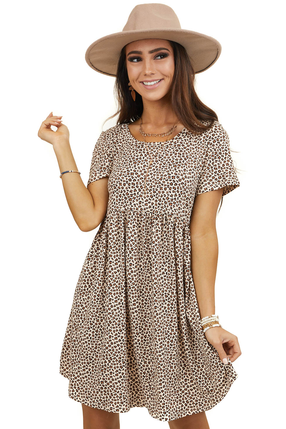 Cream and Black Leopard Print Soft Tiered Baby Doll Dress