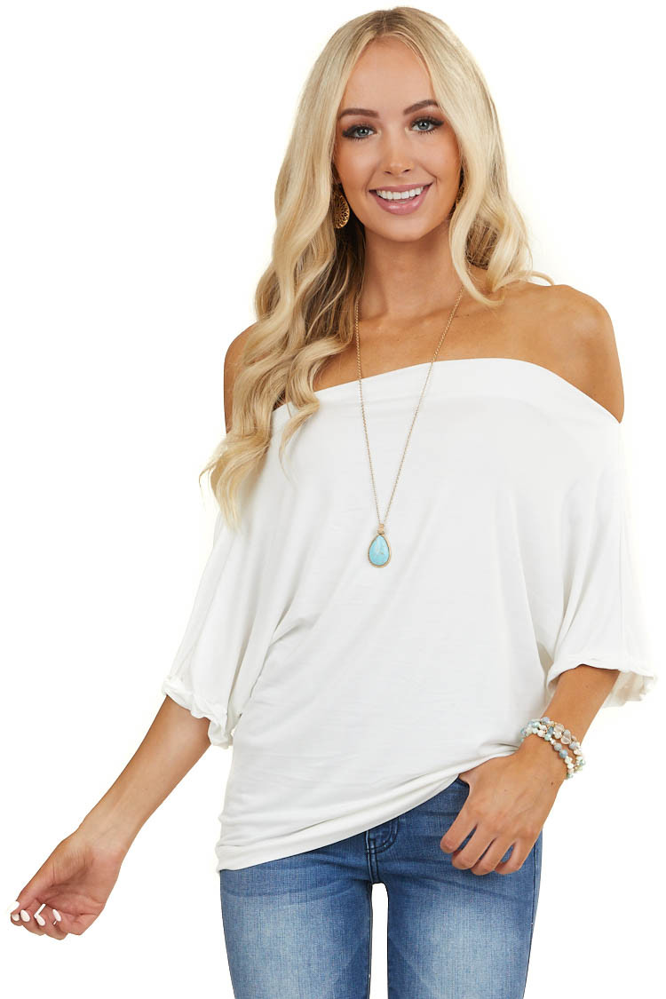 Ivory Off Shoulder Knit Top with Cuffed Short Sleeves