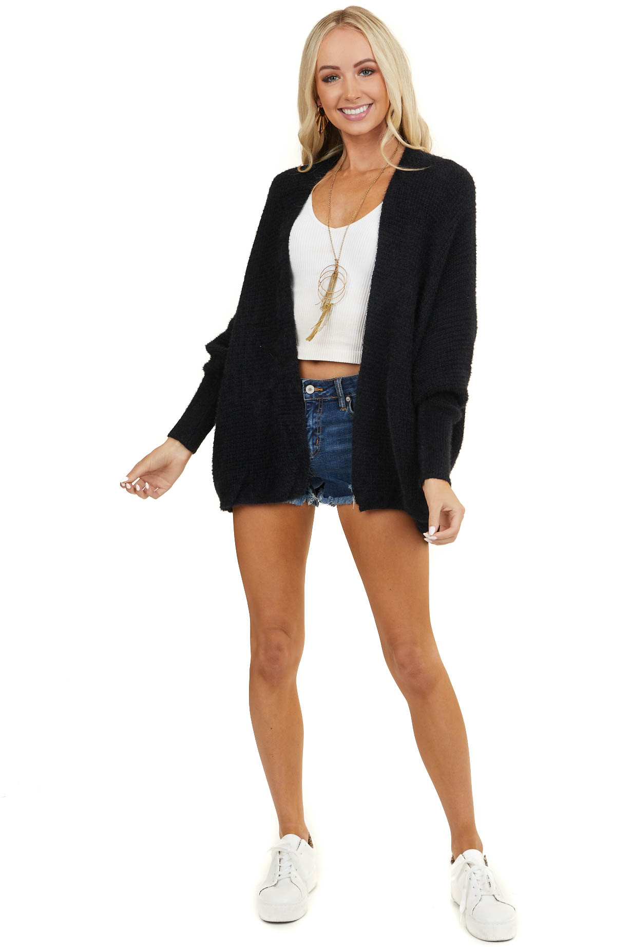 Black Open Front Knit Cardigan with Long Dolman Sleeves
