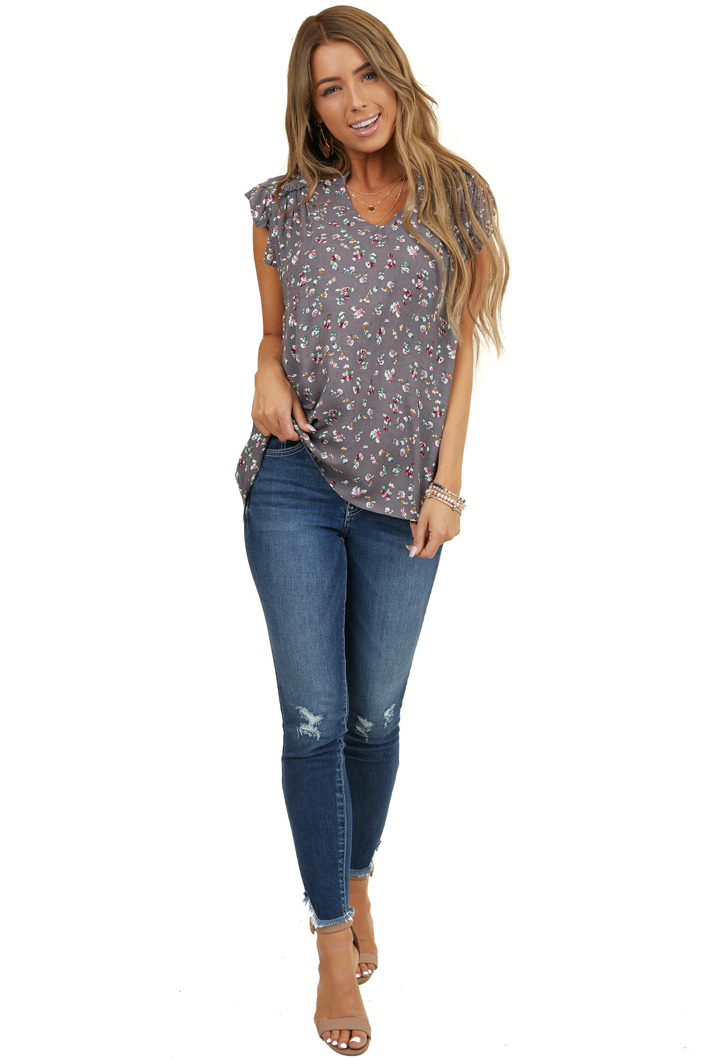 Amethyst Floral Print Blouse with Ruffle Cap Sleeves