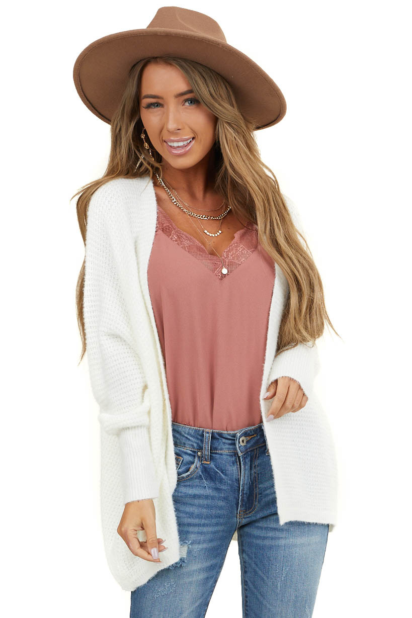 Ivory Open Front Knit Cardigan with Long Dolman Sleeves