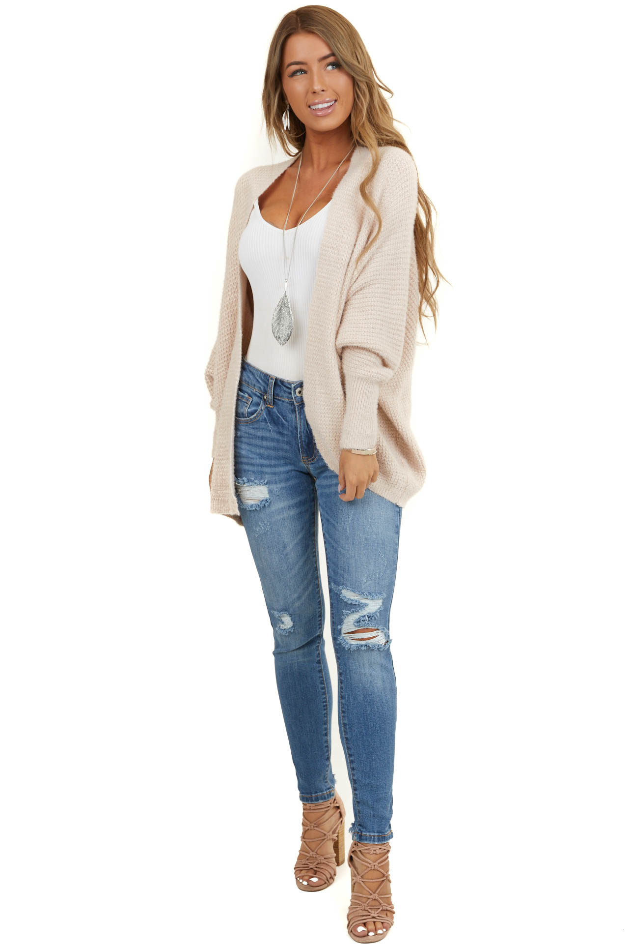 Blush Open Front Knit Cardigan with Long Dolman Sleeves