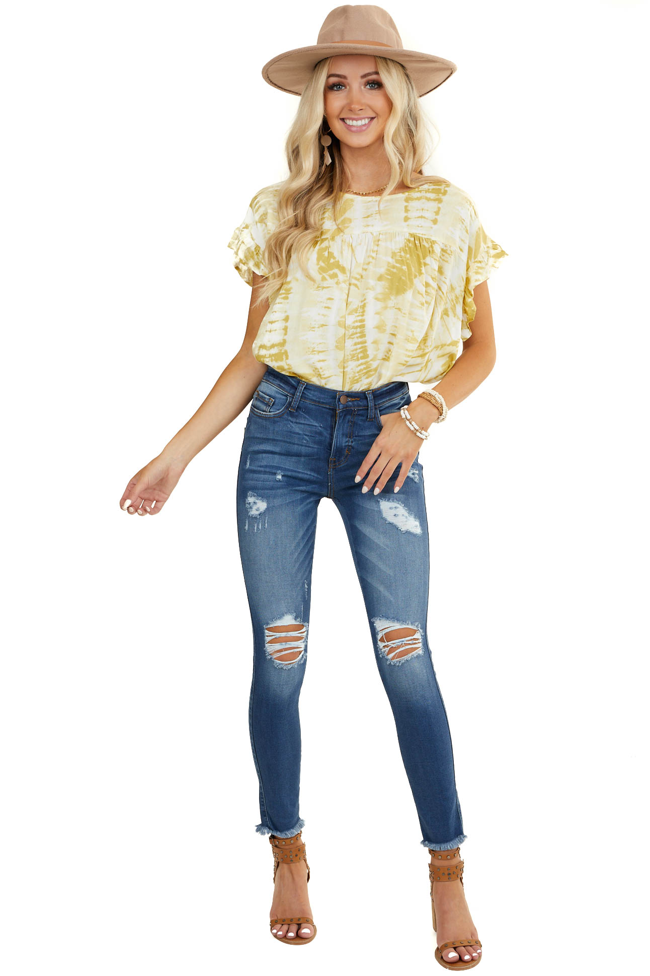 Mustard Yellow Tie Dye Blouse with Short Ruffle Sleeves