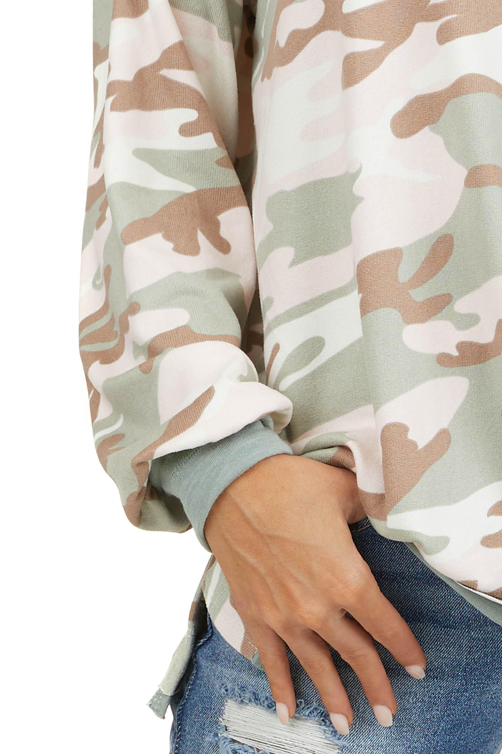 Sage and Pink Camo Super Soft Knit Top with Raw Hem