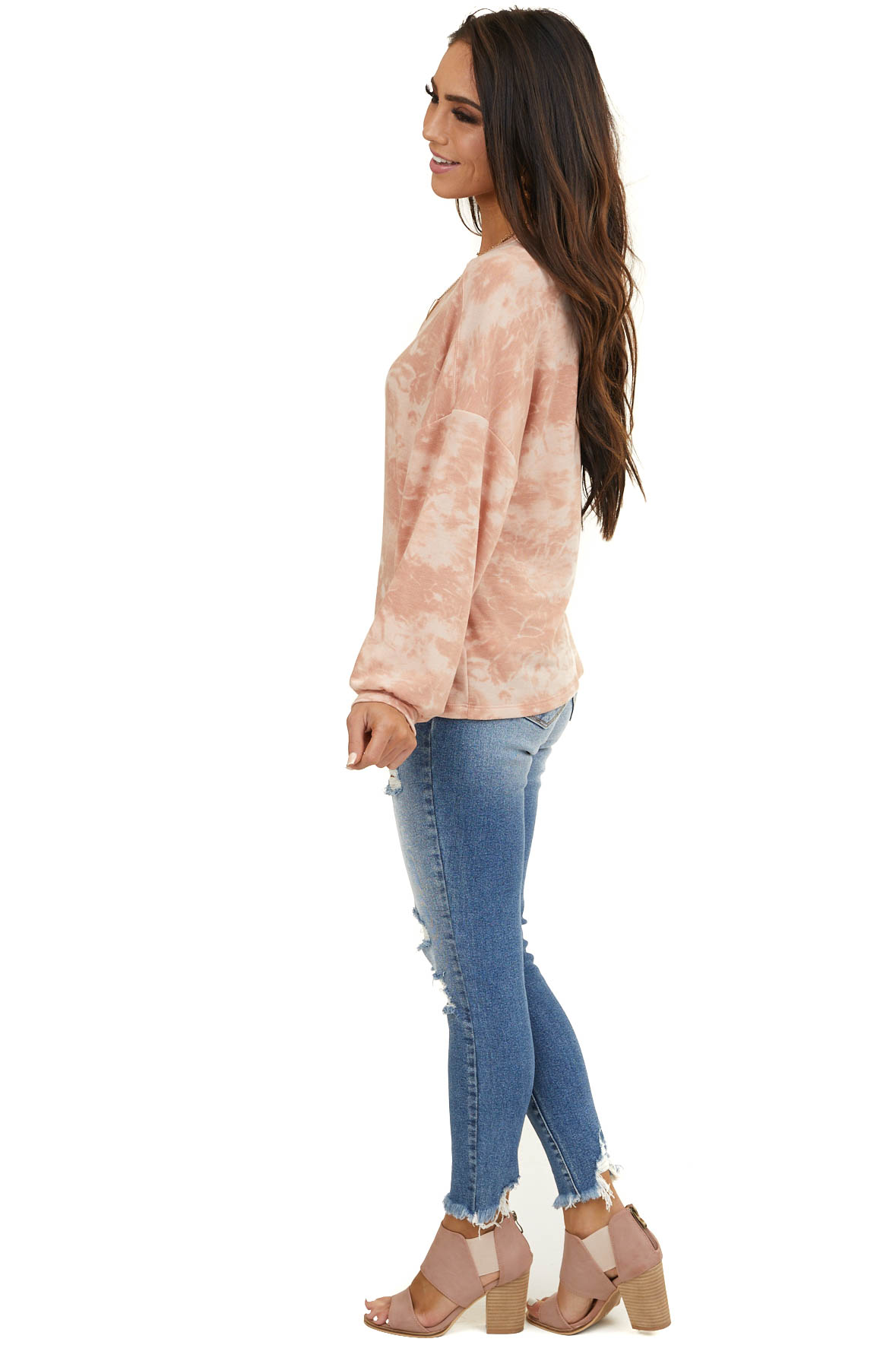 Dusty Coral Tie Dye Soft Knit Top with Long Sleeves