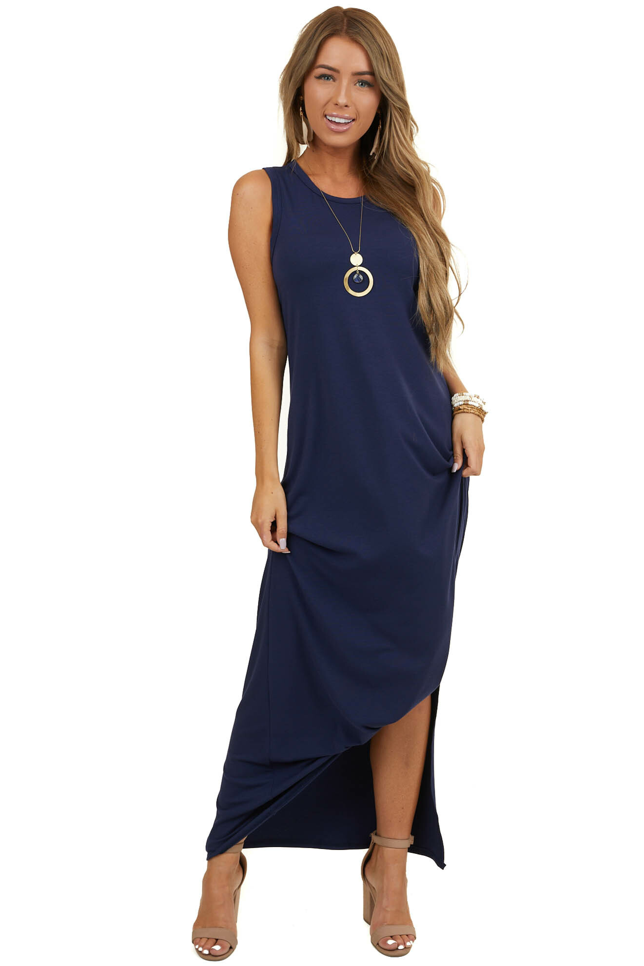 Navy Blue Sleeveless Knit Maxi Dress with Side Slit